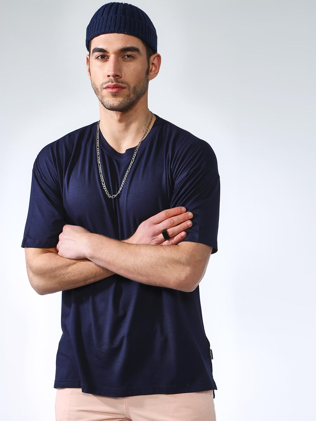 KOOVS Navy Basic Slim Fit T-Shirts 1