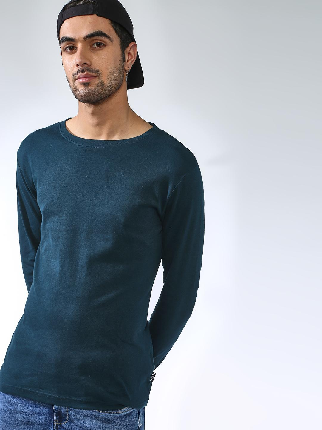 KOOVS Blue Muscle Fit Long Sleeve T-Shirt 1