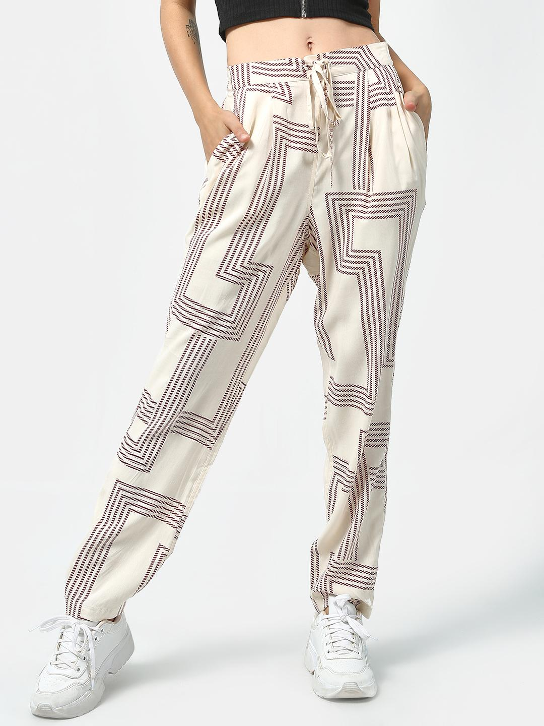 Oxolloxo Beige Abstract Print Drawcord Trousers 1
