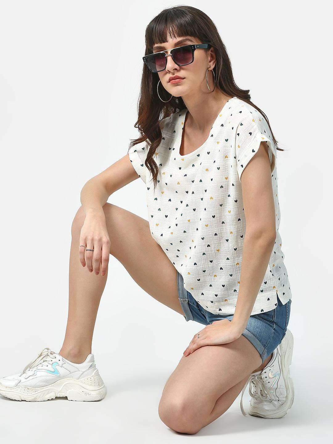 Oxolloxo White Basic Printed Casual Top 1