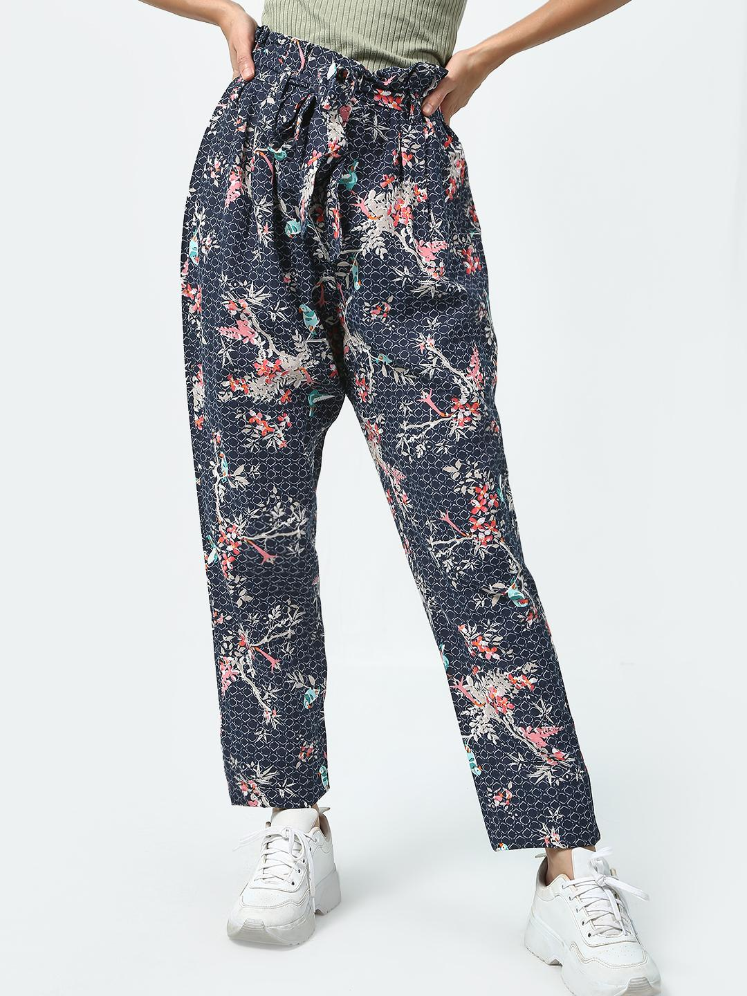 Oxolloxo Grey Floral Print High Waist Trousers 1