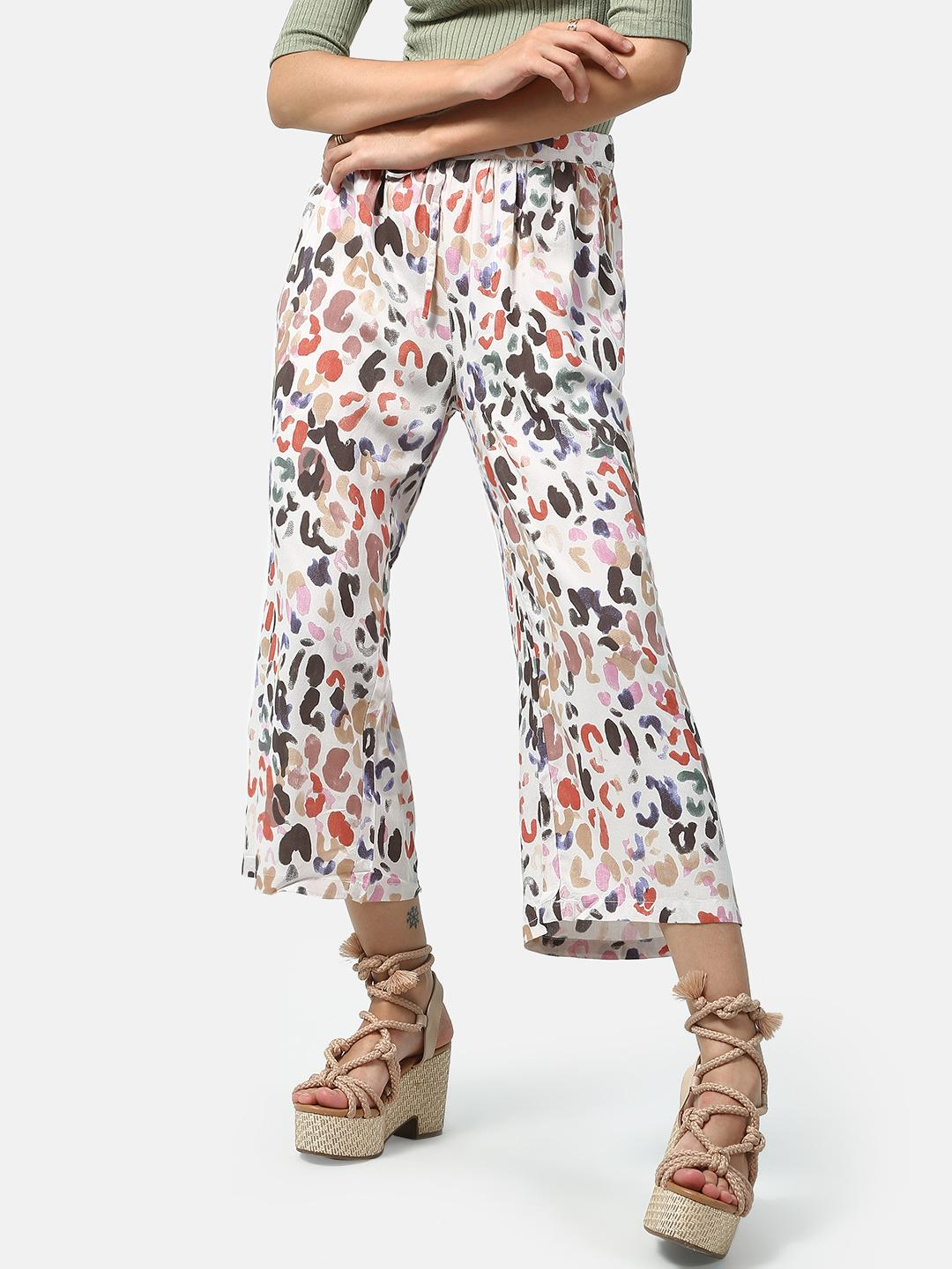 Oxolloxo Multicolor Abstract Print Cropped Trousers 1