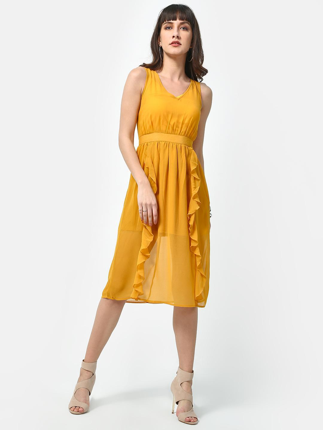 Oxolloxo Yellow Sunshine Solid Midi Dress 1