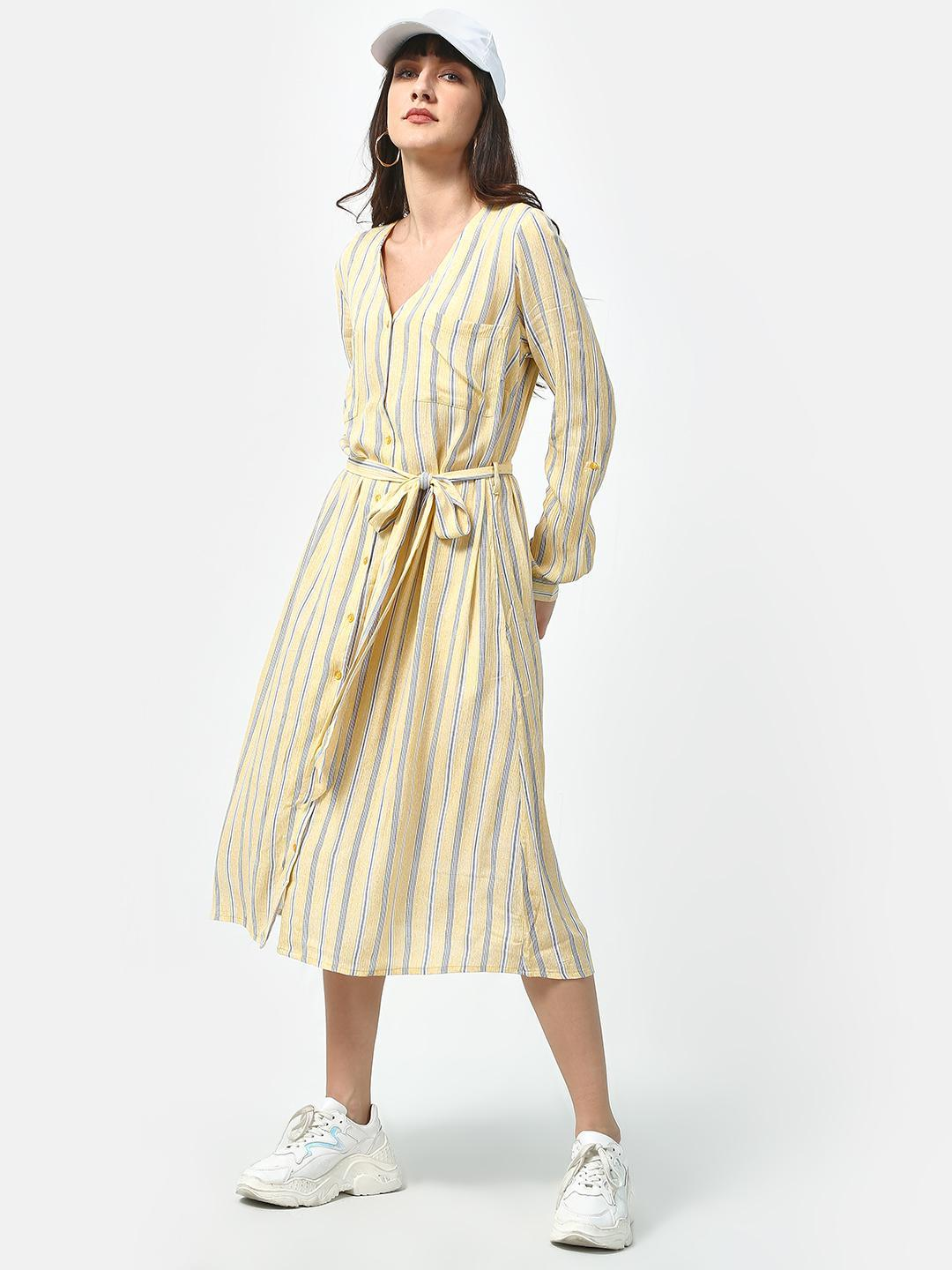 Oxolloxo Yellow Basic Stripe Maxi Dress 1