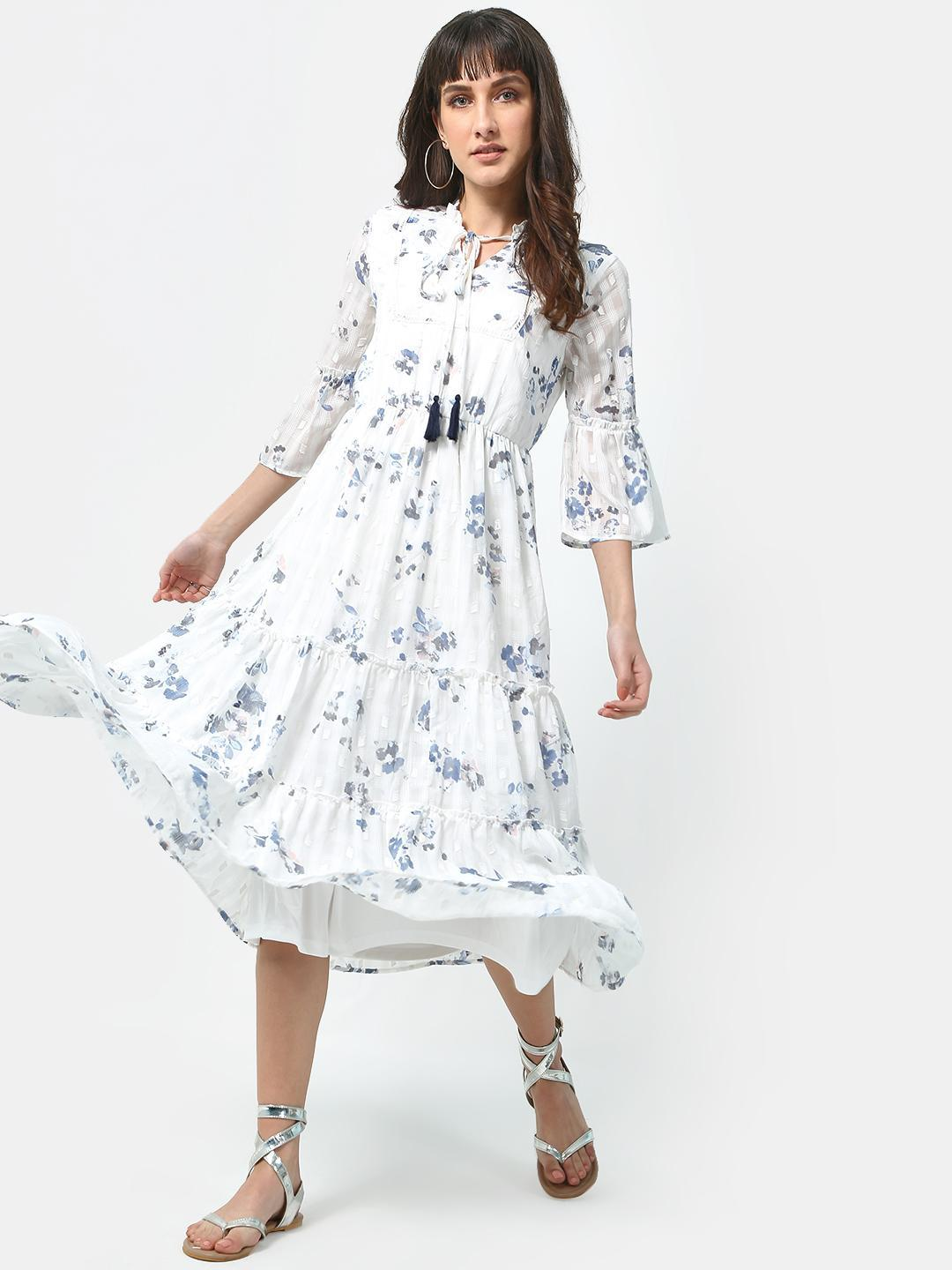 Oxolloxo Off-White Floral Print Ruffled Cinched Flared Dress 1