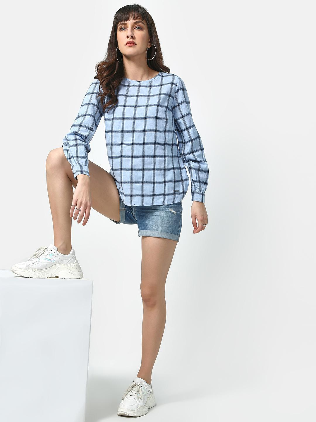 Oxolloxo Blue Brush Check Casual Top 1
