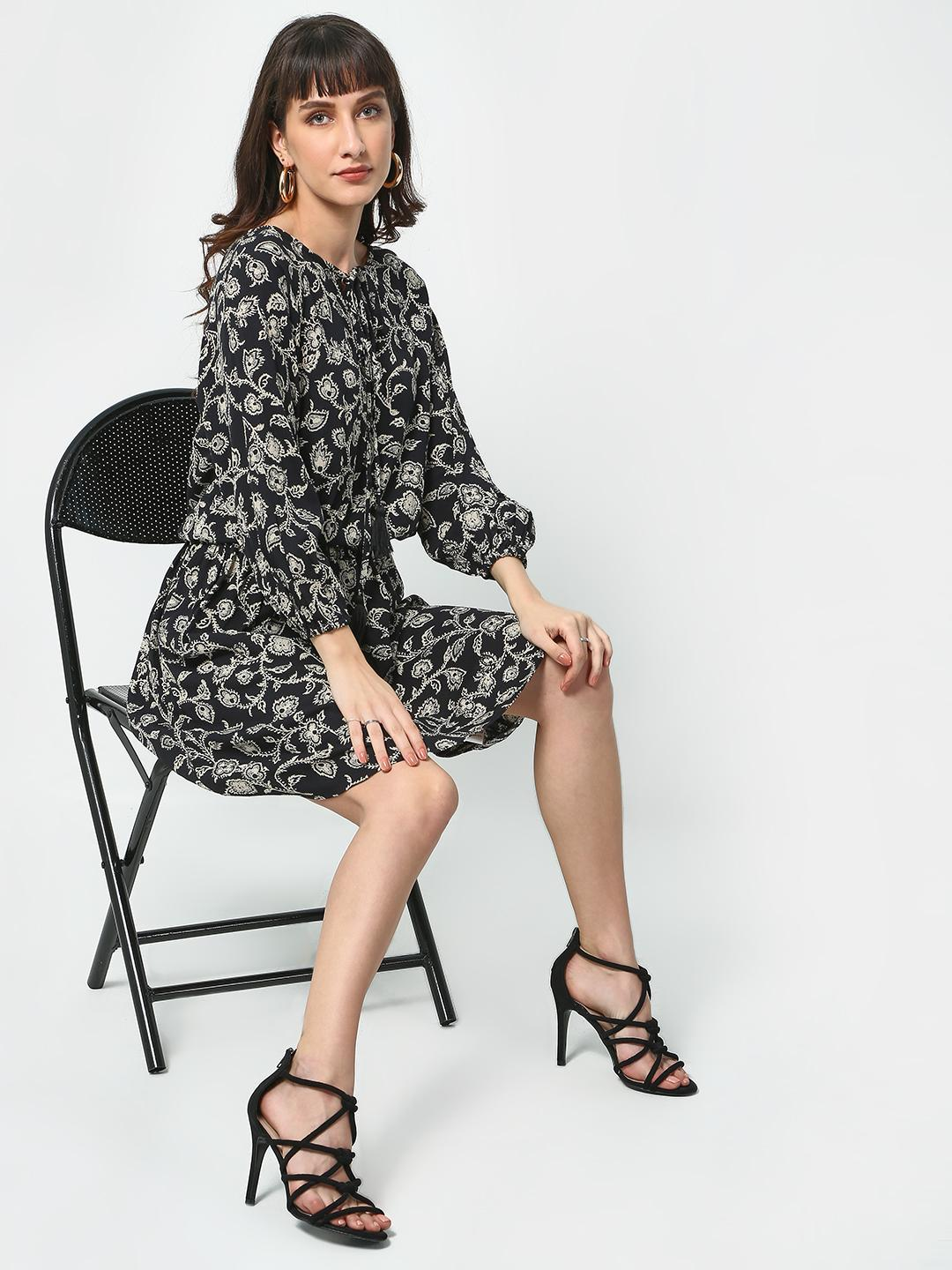 Oxolloxo Black Floral Festive Midi Dress 1