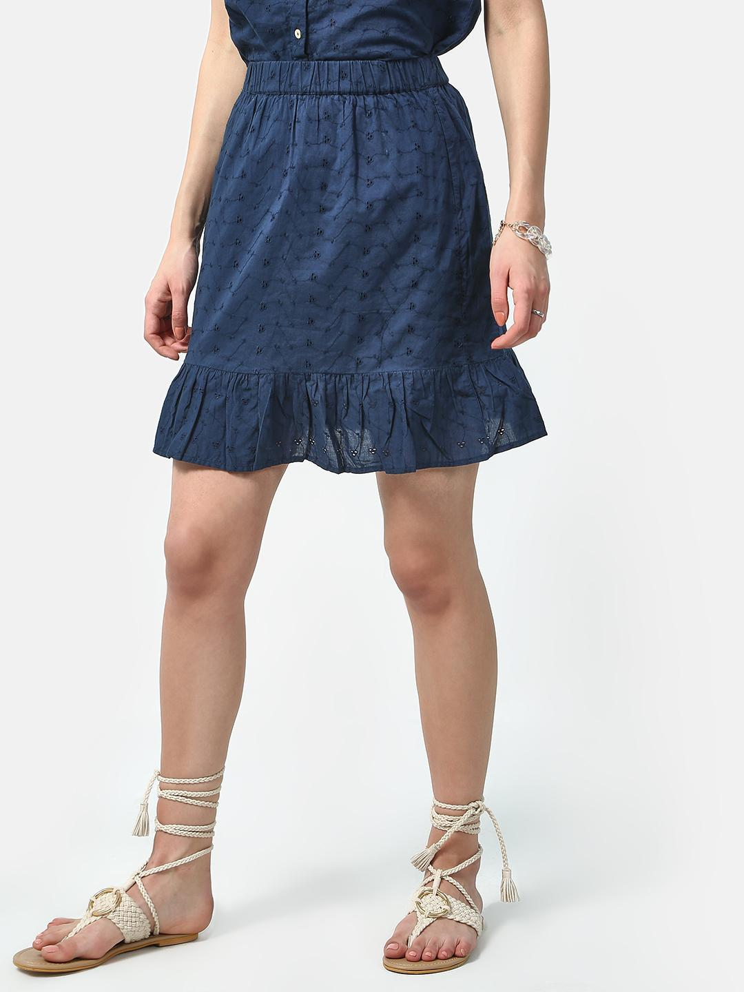 Oxolloxo Navy Friction Dotted Casual Mini Skirts 1