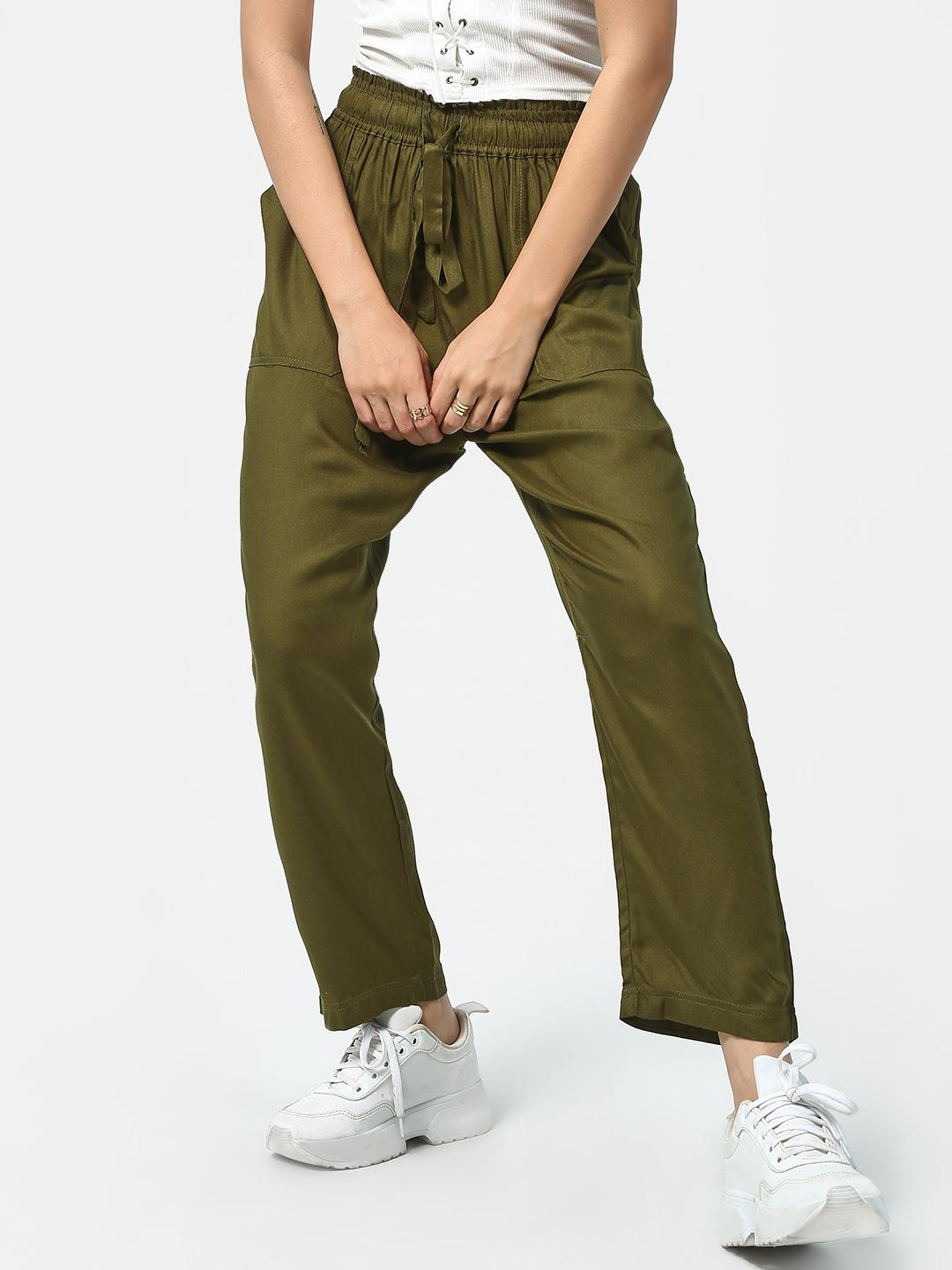 Oxolloxo Olive Drawcord Utility Trousers 1