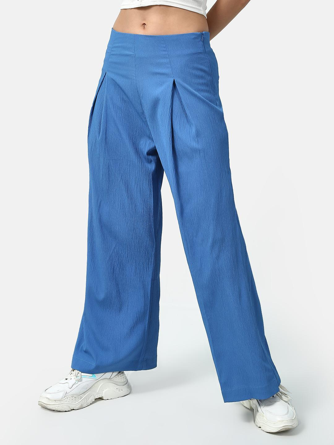 Oxolloxo Blue Solid Color Palazzo Pants 1