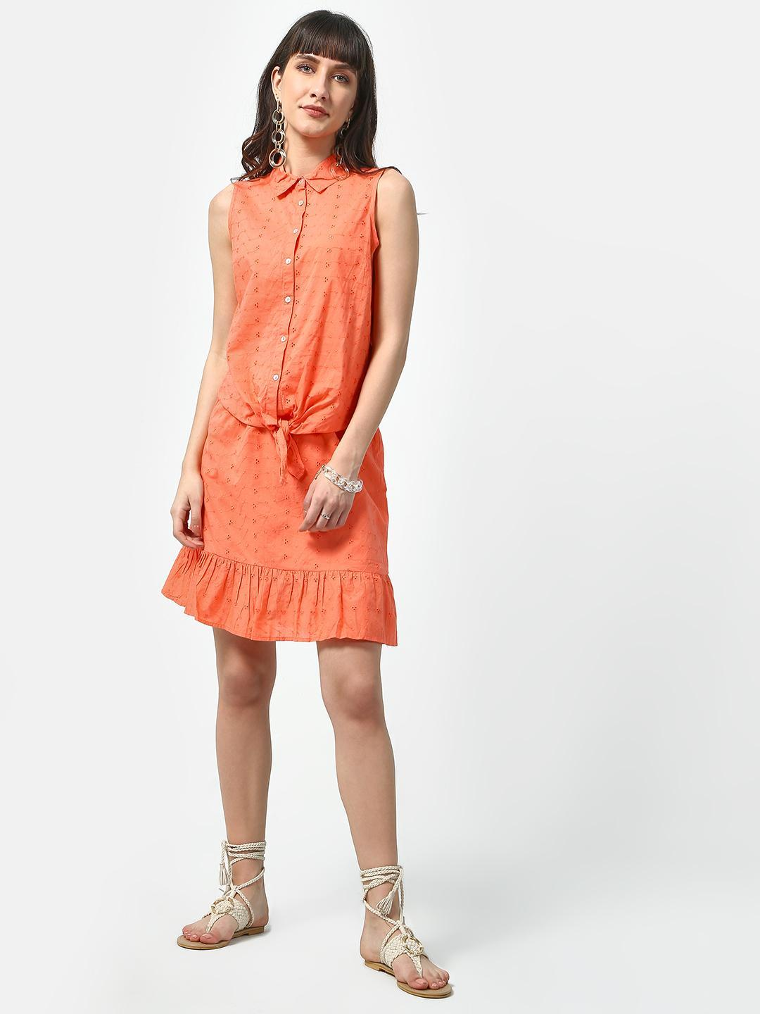 Oxolloxo Orange Pulp Friction Dotted Casual Shirt 1