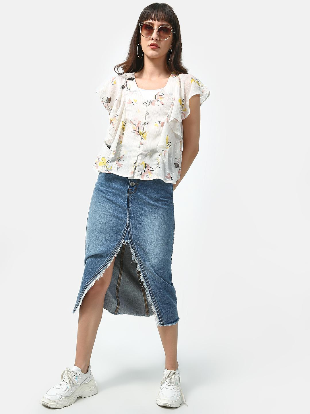 Oxolloxo Beige Basic Floral Printed Top 1