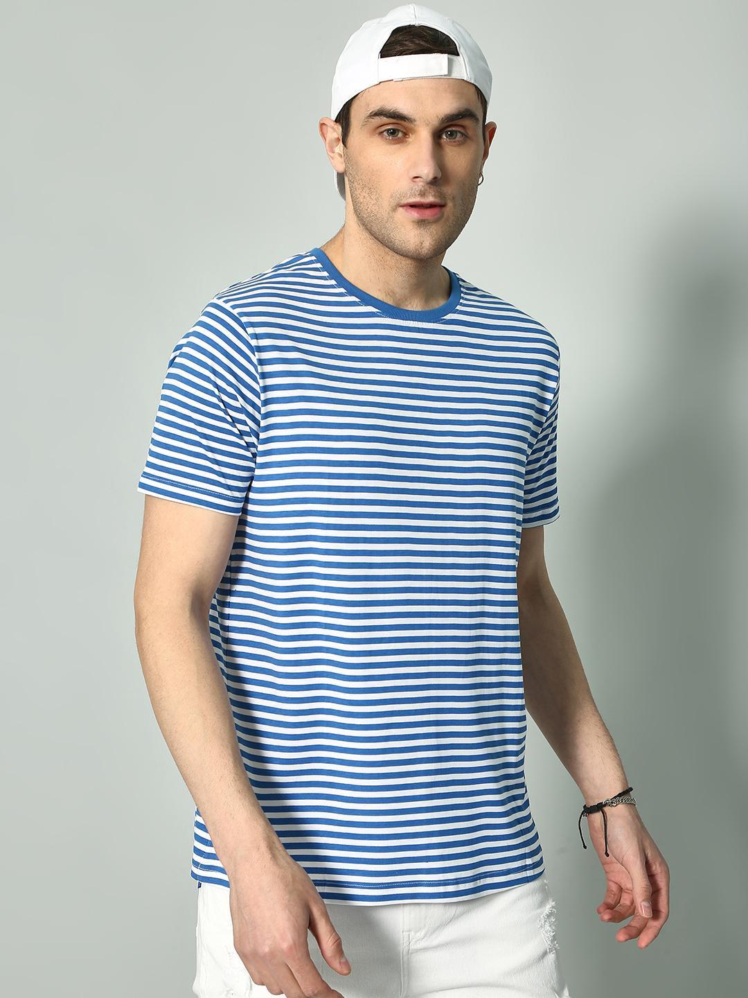 Blue Saint White/Blue Horizontal Stripe Crew Neck T-Shirt 1
