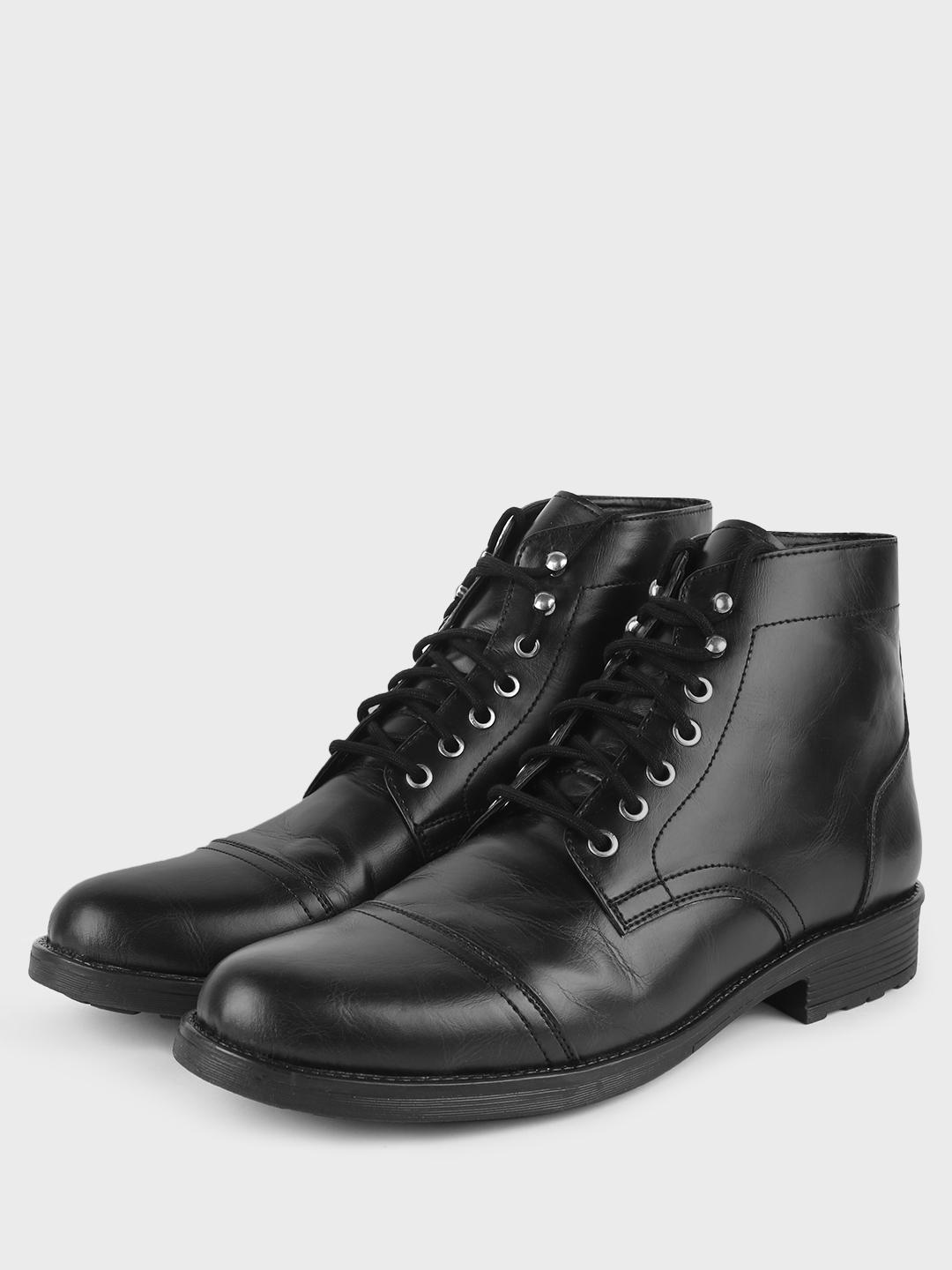 Griffin Black Brushed Off Lace-Up Boots 1