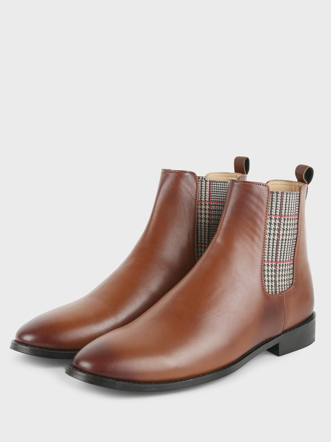 Griffin Tan Houndstooth Check Panel Chelsea Boots 1