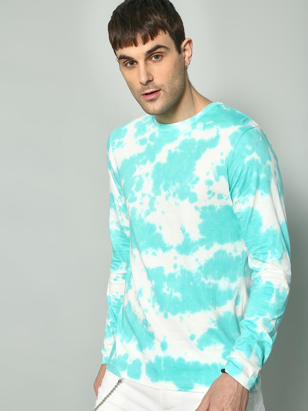 KOOVS Green/White Back Slogan Tie-Dye Print T-shirt 1