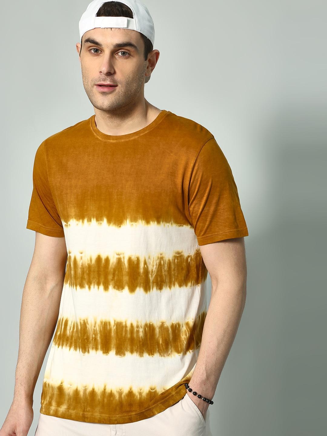 KOOVS Brown/White All Over Tie-Dye Print T-shirt 1