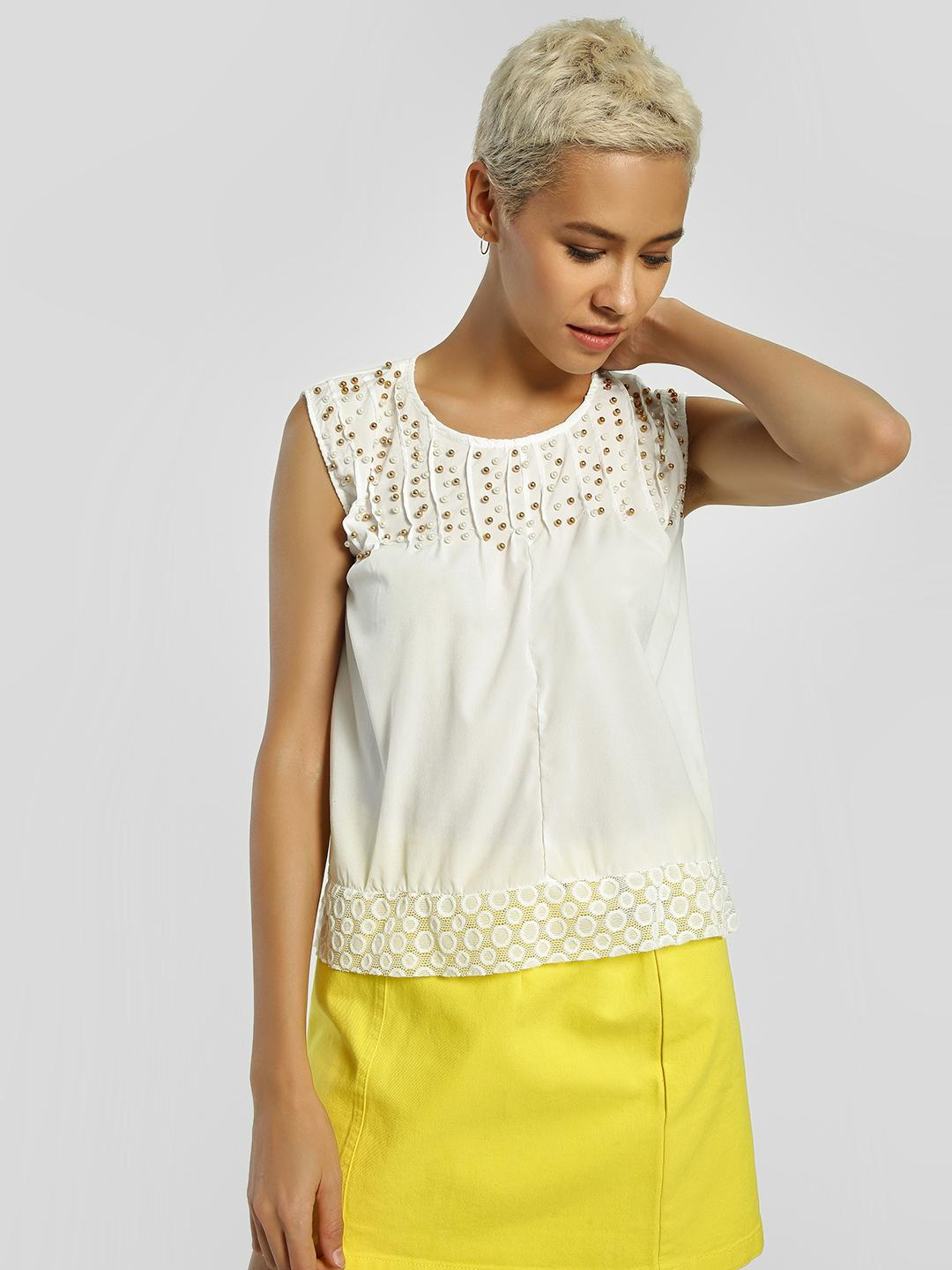 Privy League White Pearl Embellished Sleeveless Blouse 1