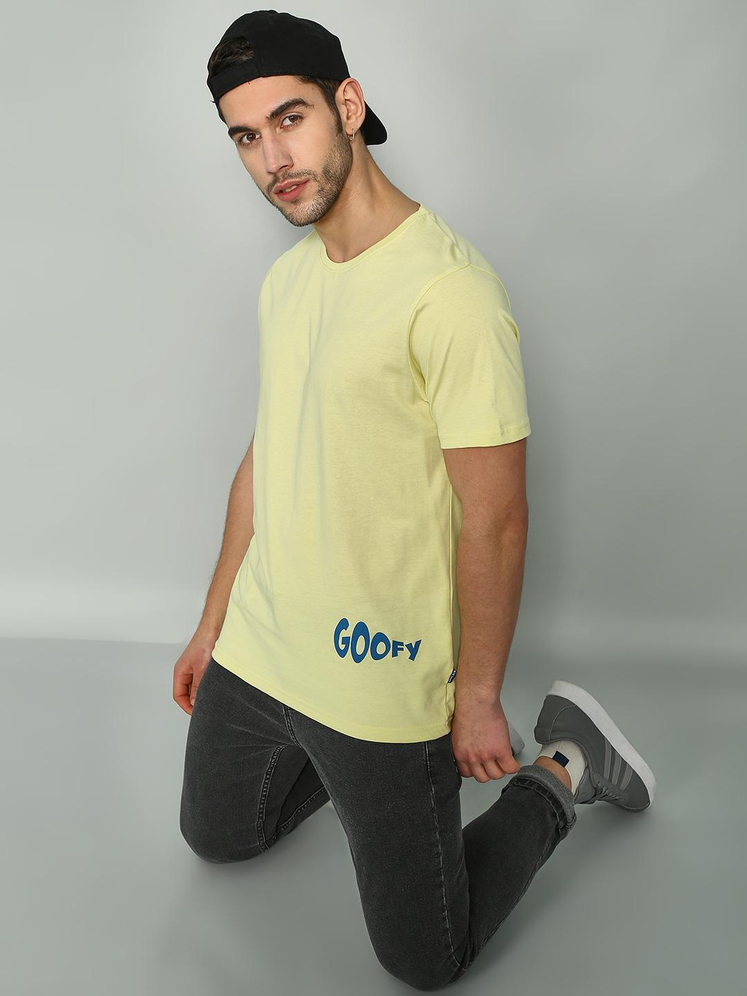 Blue Saint Yellow Plain Round Neck T-shirts 1