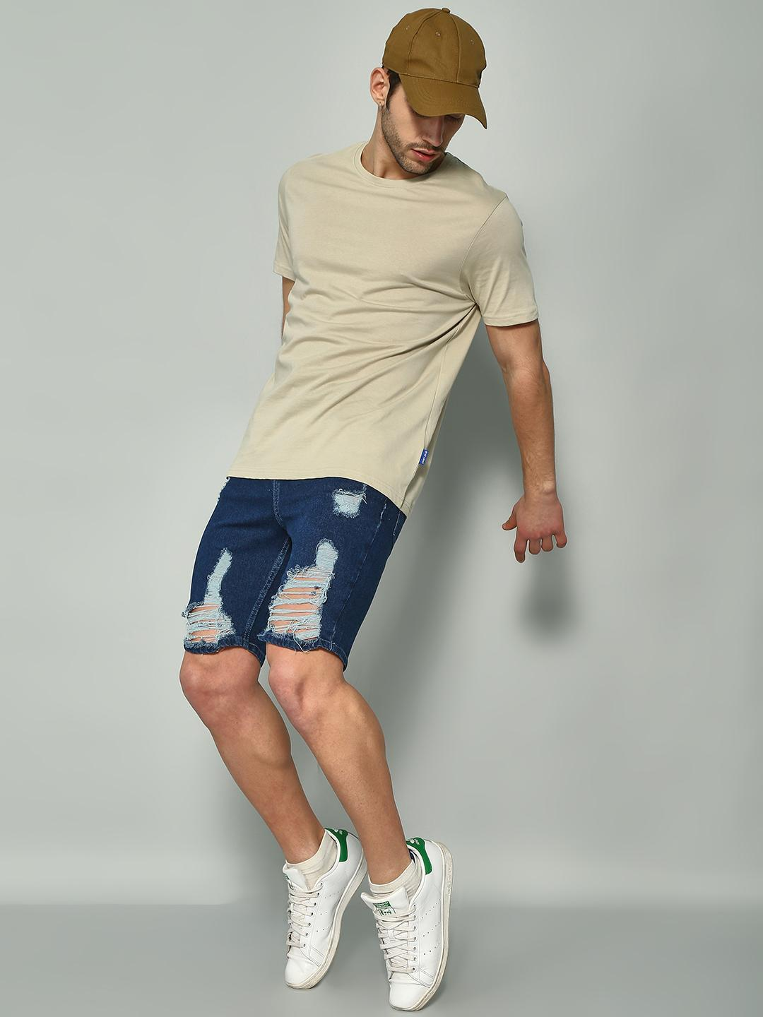 Blue Saint Blue Distressed Ripped Shorts 1