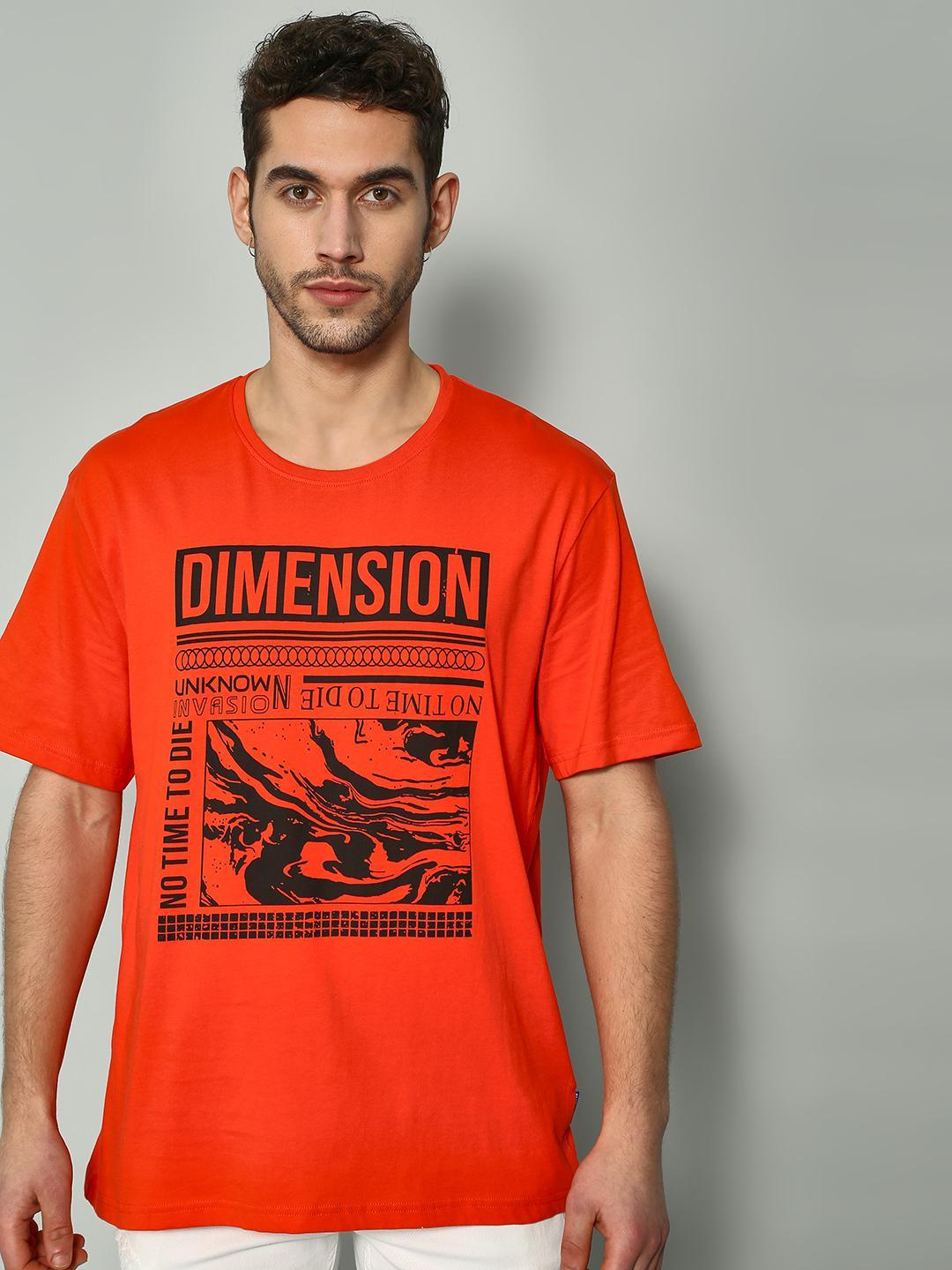 Blue Saint Orange Text Print Casual T-Shirt 1