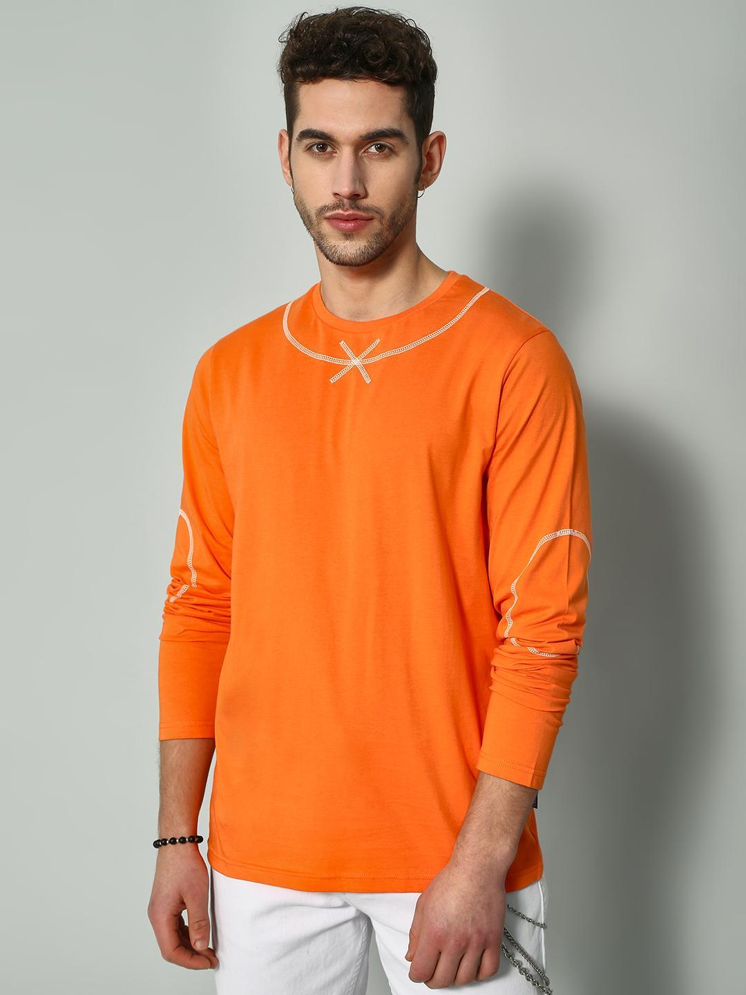 Blue Saint Orange Solid Long Sleeves T-shirt 1