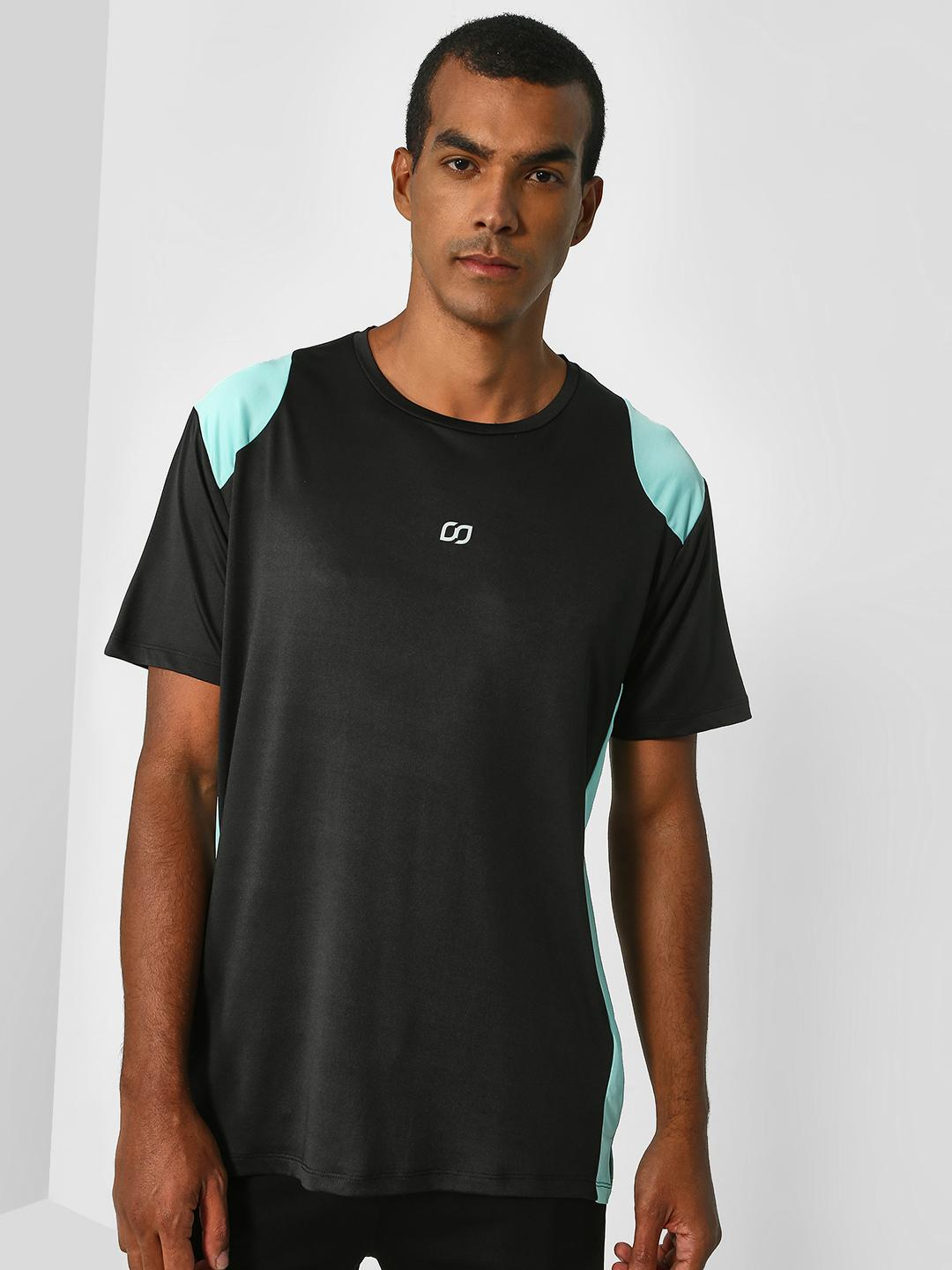 ONE/ZERO BY KOOVS Black Contrast Panel Training T-Shirt 1