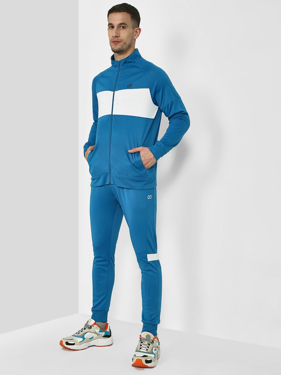 ONE/ZERO BY KOOVS Blue Contrast Panel Windproof Tracksuit 1