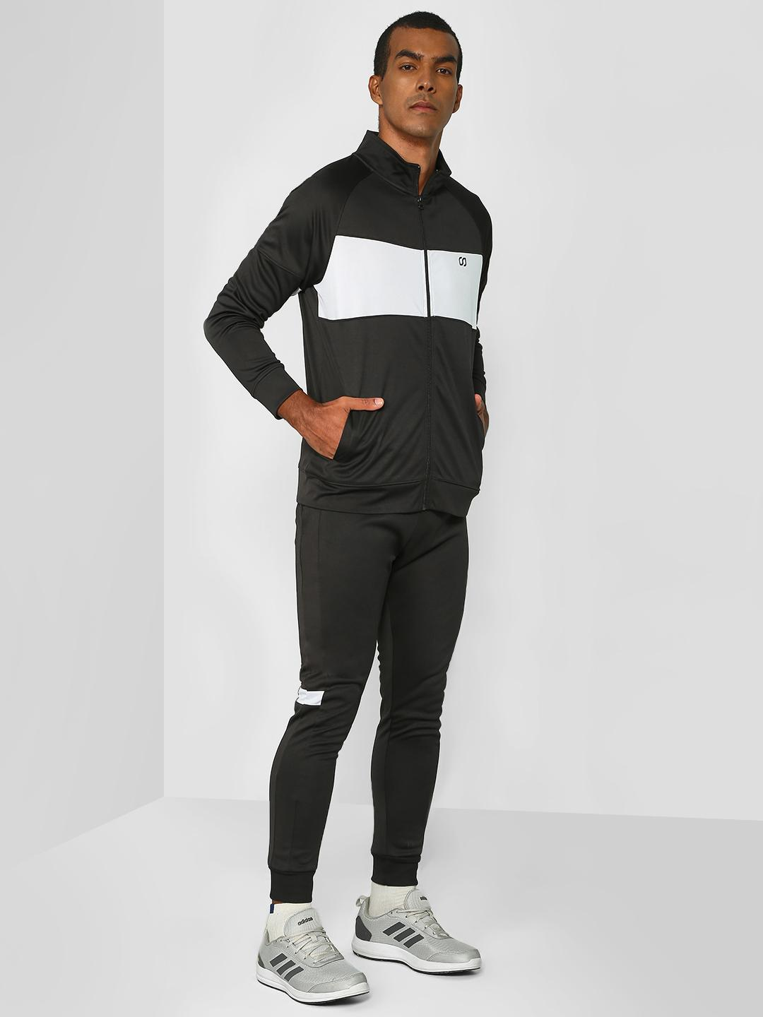ONE/ZERO BY KOOVS Black Contrast Panel Windproof Tracksuit 1