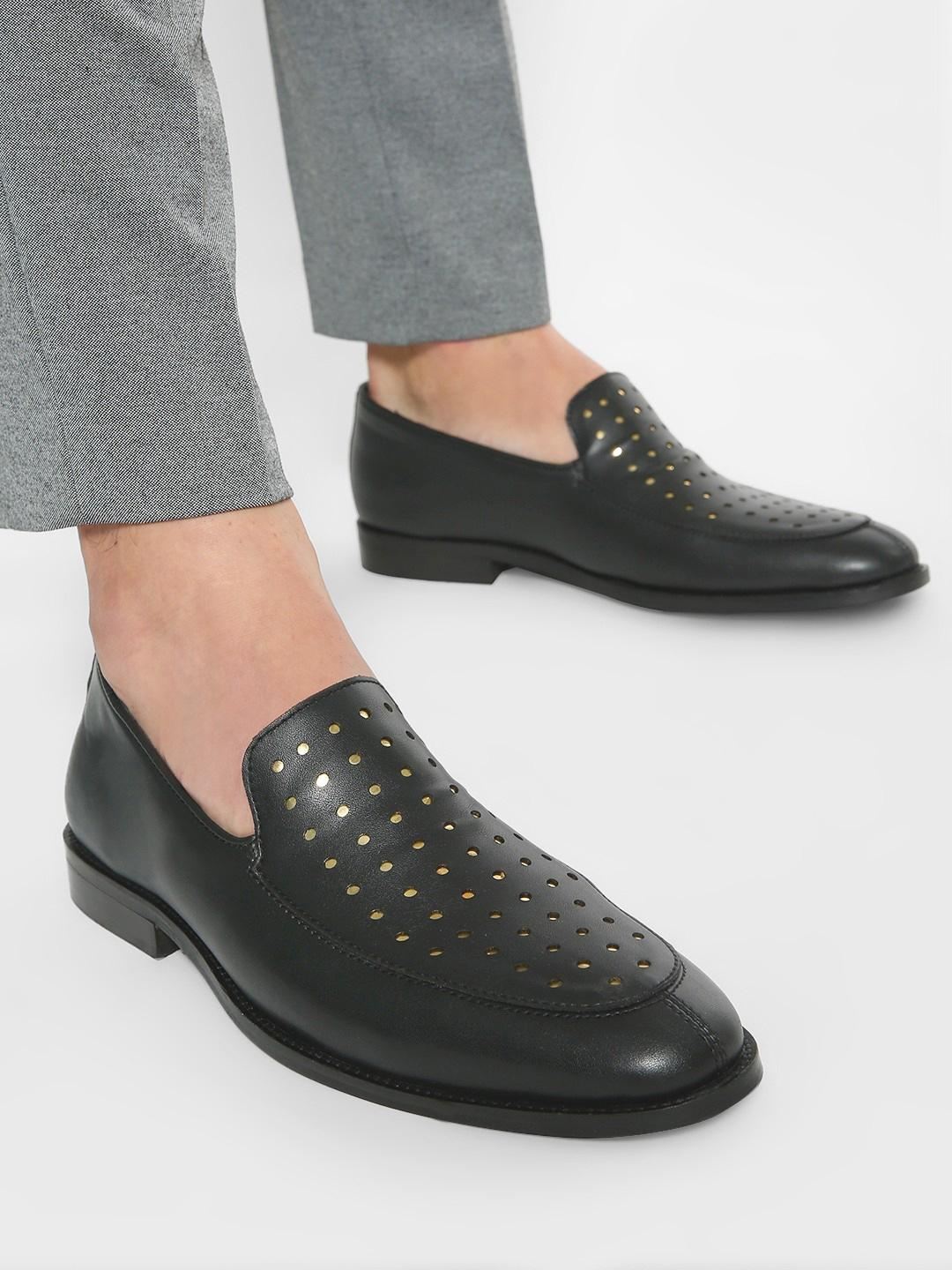 Griffin Black Metallic Brogue Punches Loafers 1