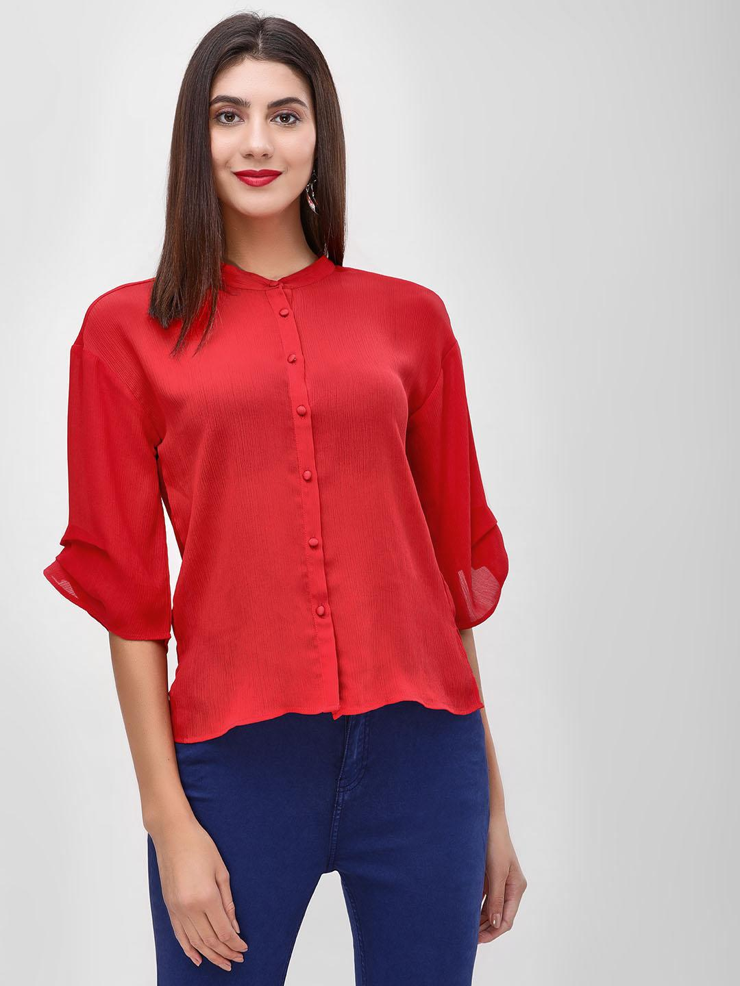 Cover Story Red Plain Long Sleeve Shirt 1