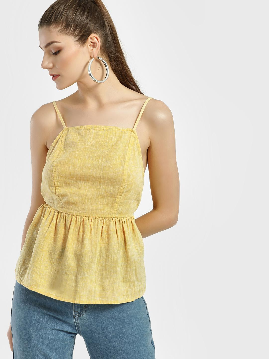 New Look BRIGHT YELLOW Back Tie-Knot Cami Top 1