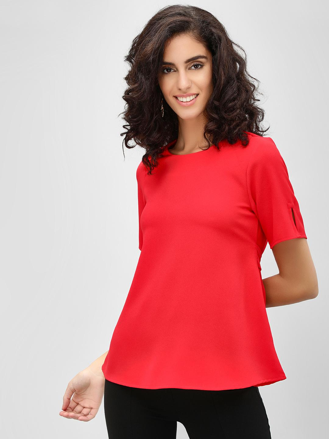 Cover Story Red Flare Sleeves And Tie Knot Detail Blouse 1