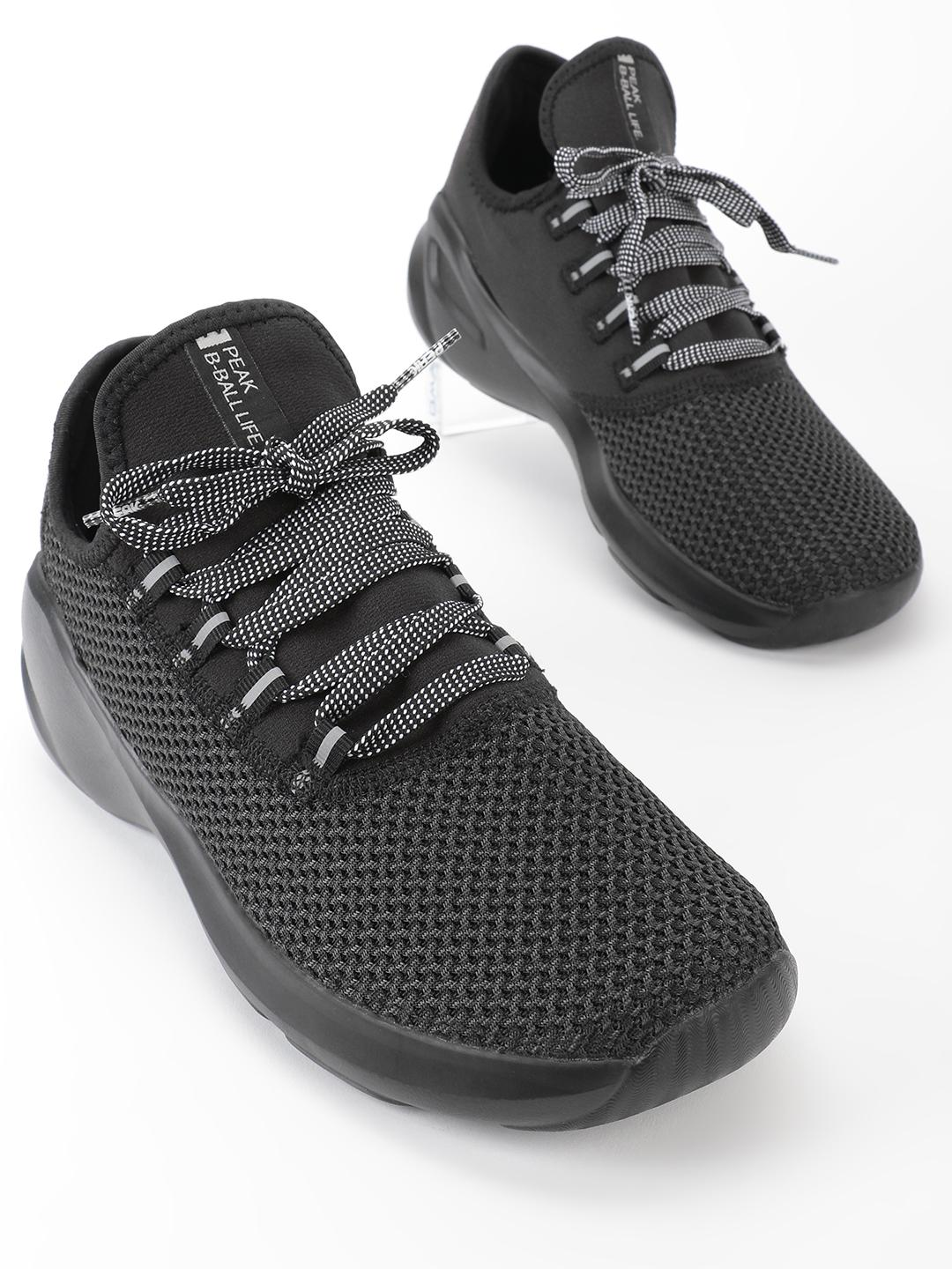 Peak Black Knitted Chunky Sole Basketball Shoes 1