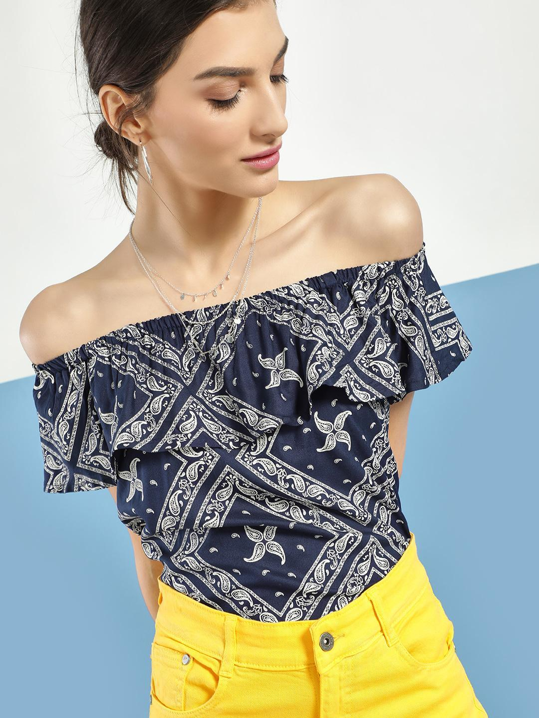 Blue Saint Multi Paisley Print Off-Shoulder Top 1