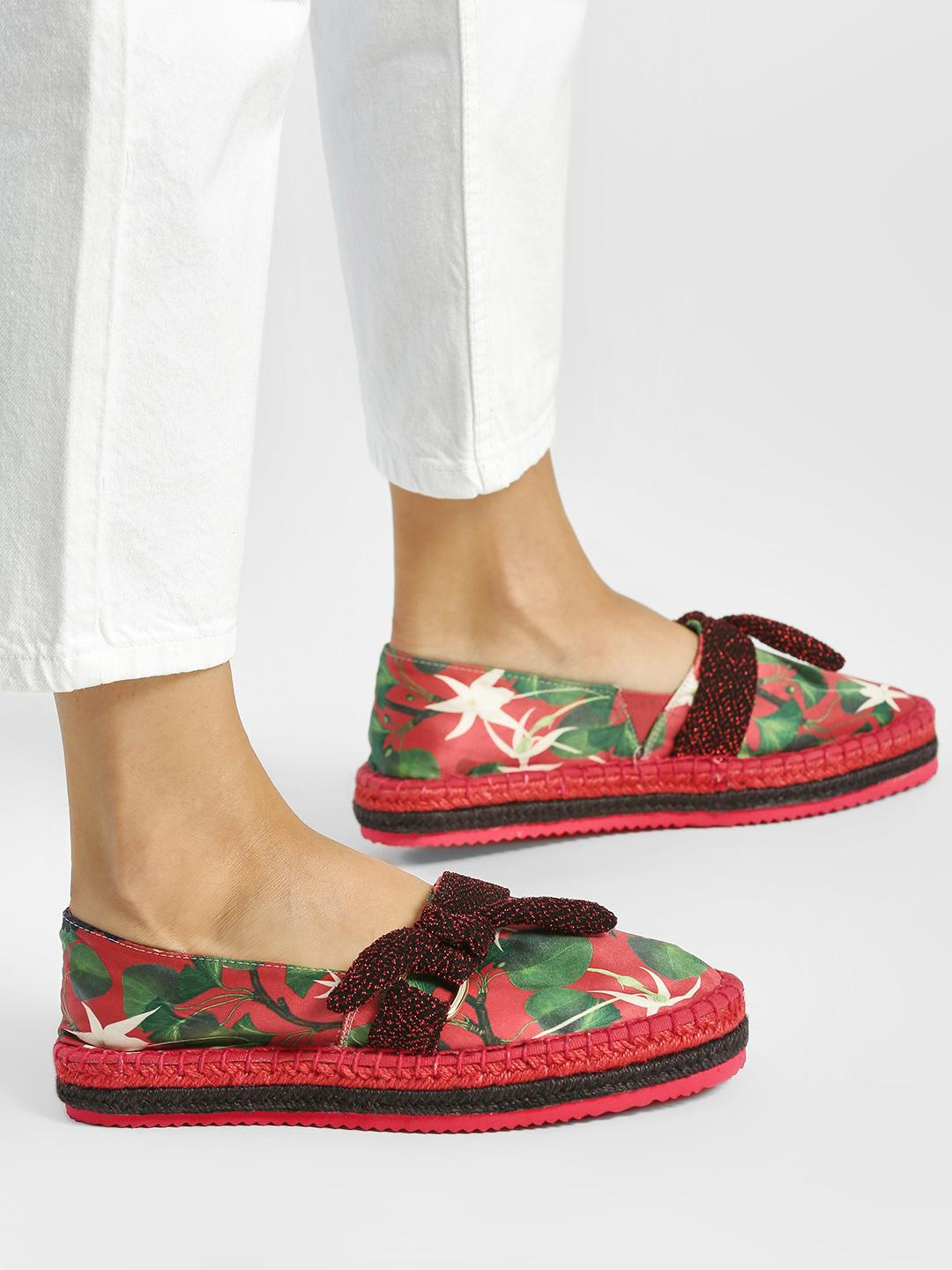Shivan & Narresh X KOOVS Multi Vineyard Print Bow Detail Espadrilles 1