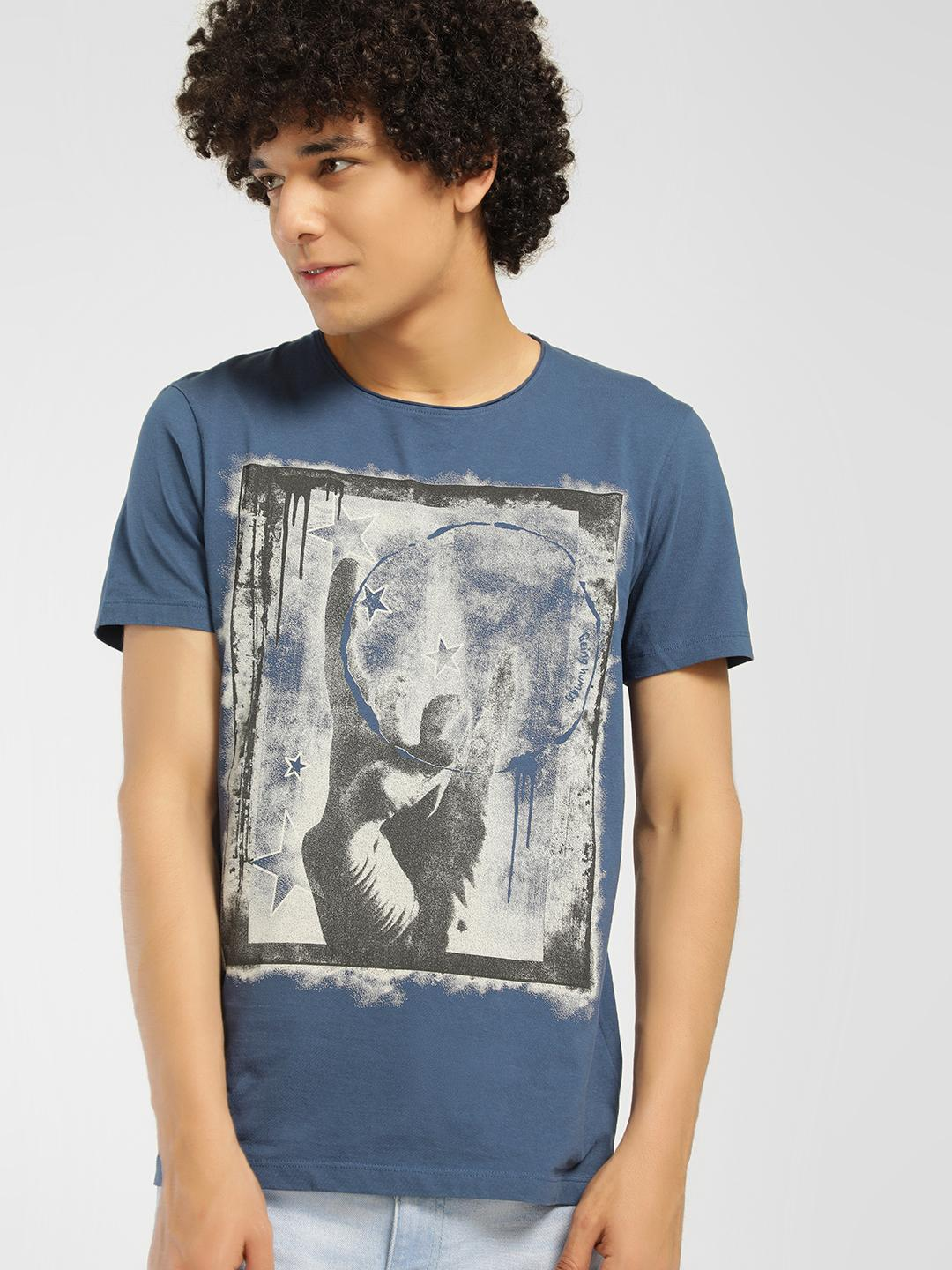Being Human Blue Placement Print Crew Neck T-Shirt 1