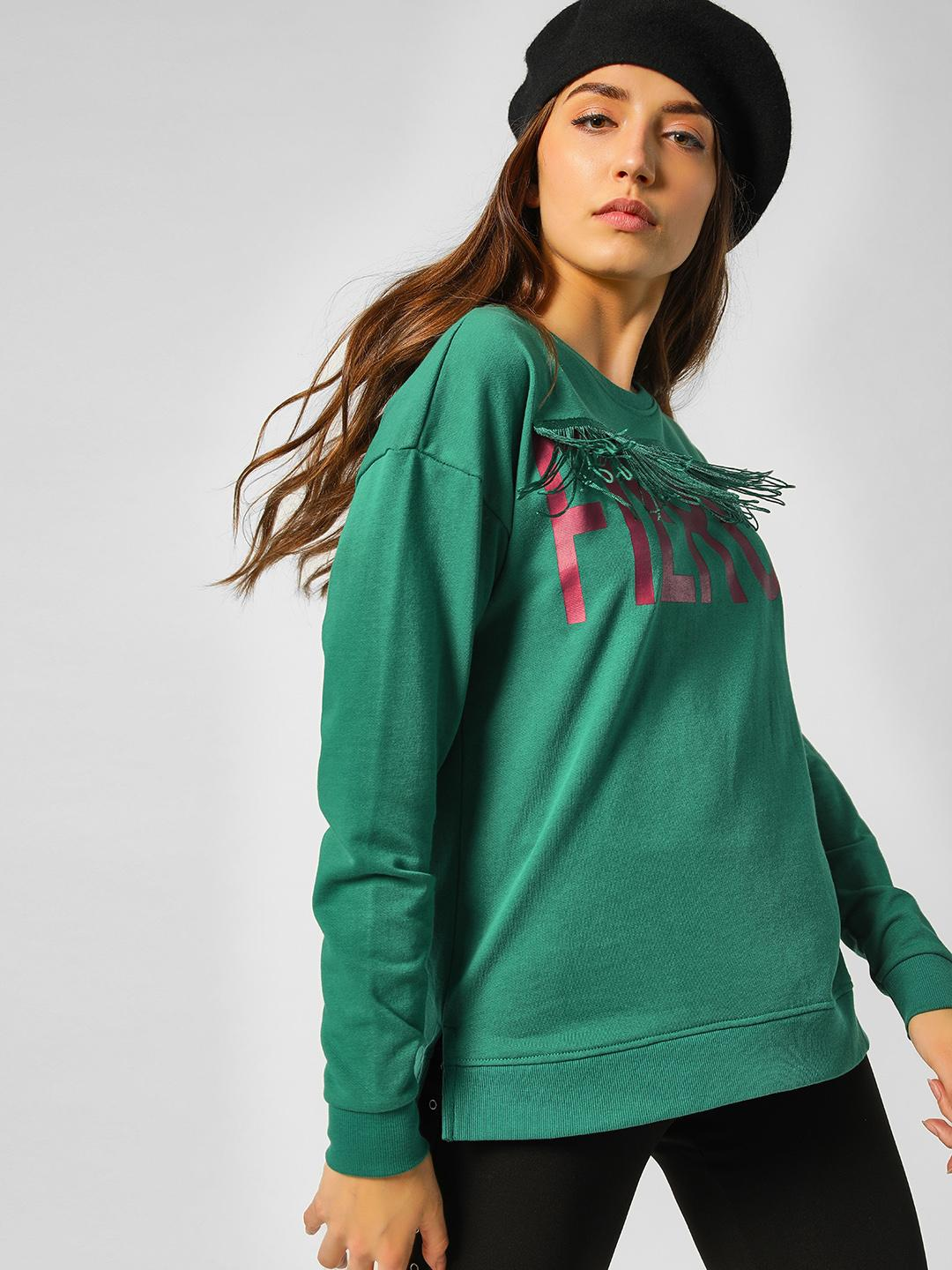 Cover Story Green Slogan Tassel Trim Sweatshirt 1