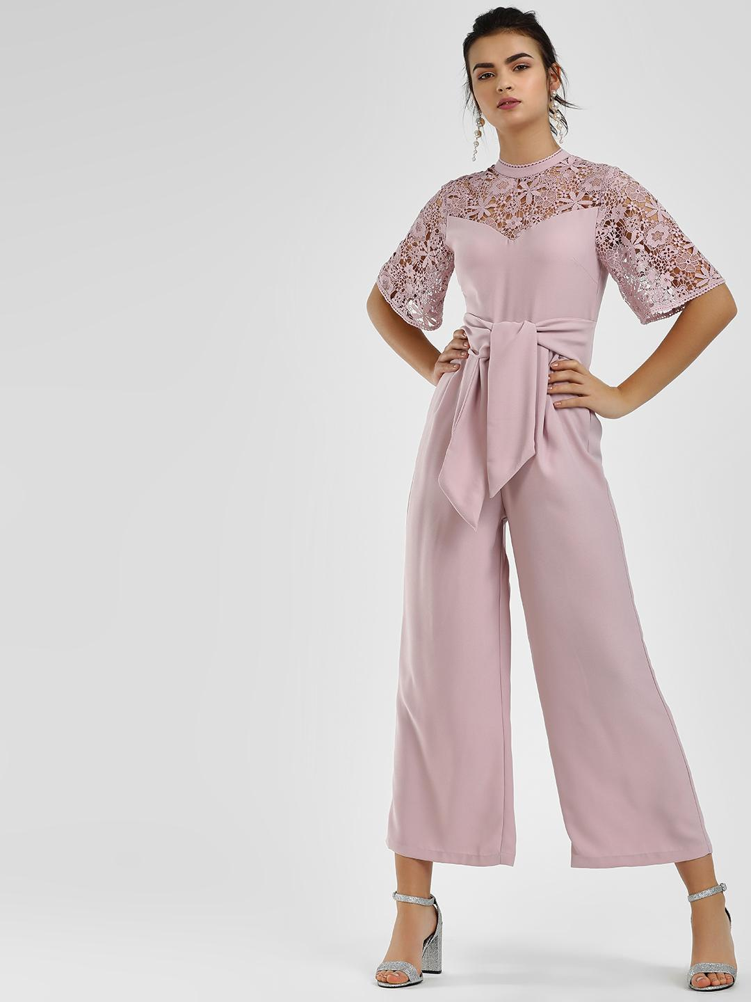 Cover Story Lilac Crochet Lace Tie-Up Jumpsuit 1