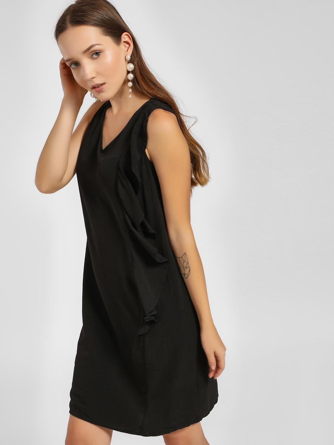 LC Waikiki Black Side Ruffle V-Neck Shift Dress 1