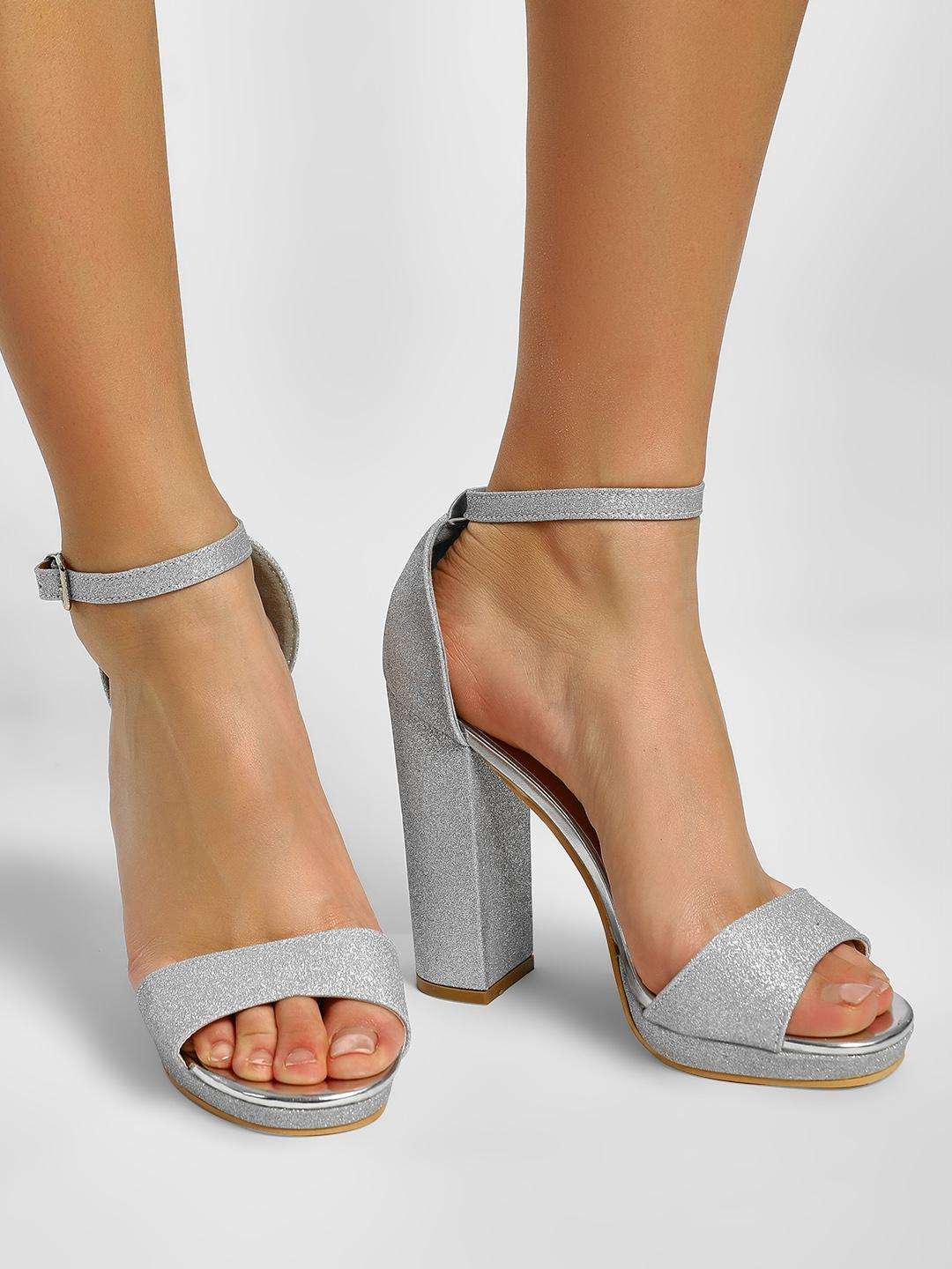 Truffle Collection Silver Shimmer Detail Block Heeled Sandals 1