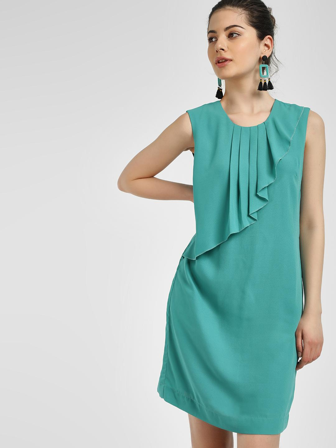 PostFold Teal Pleated Sleeveless Shift Dress 1