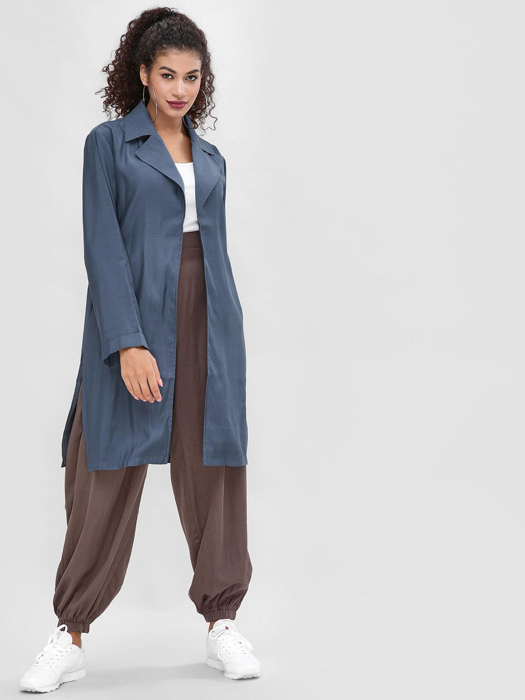 Cover Story Blue Tencel Duster Tie-Knot Overcoat 1