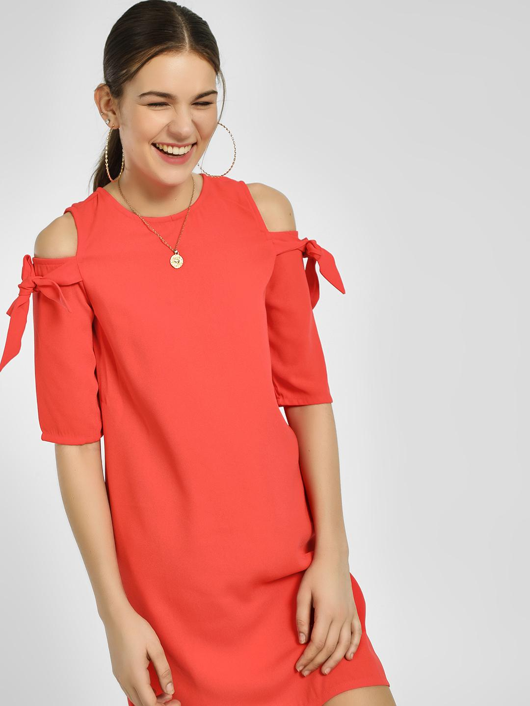 People Red Cold Shoulder Shift Dress 1