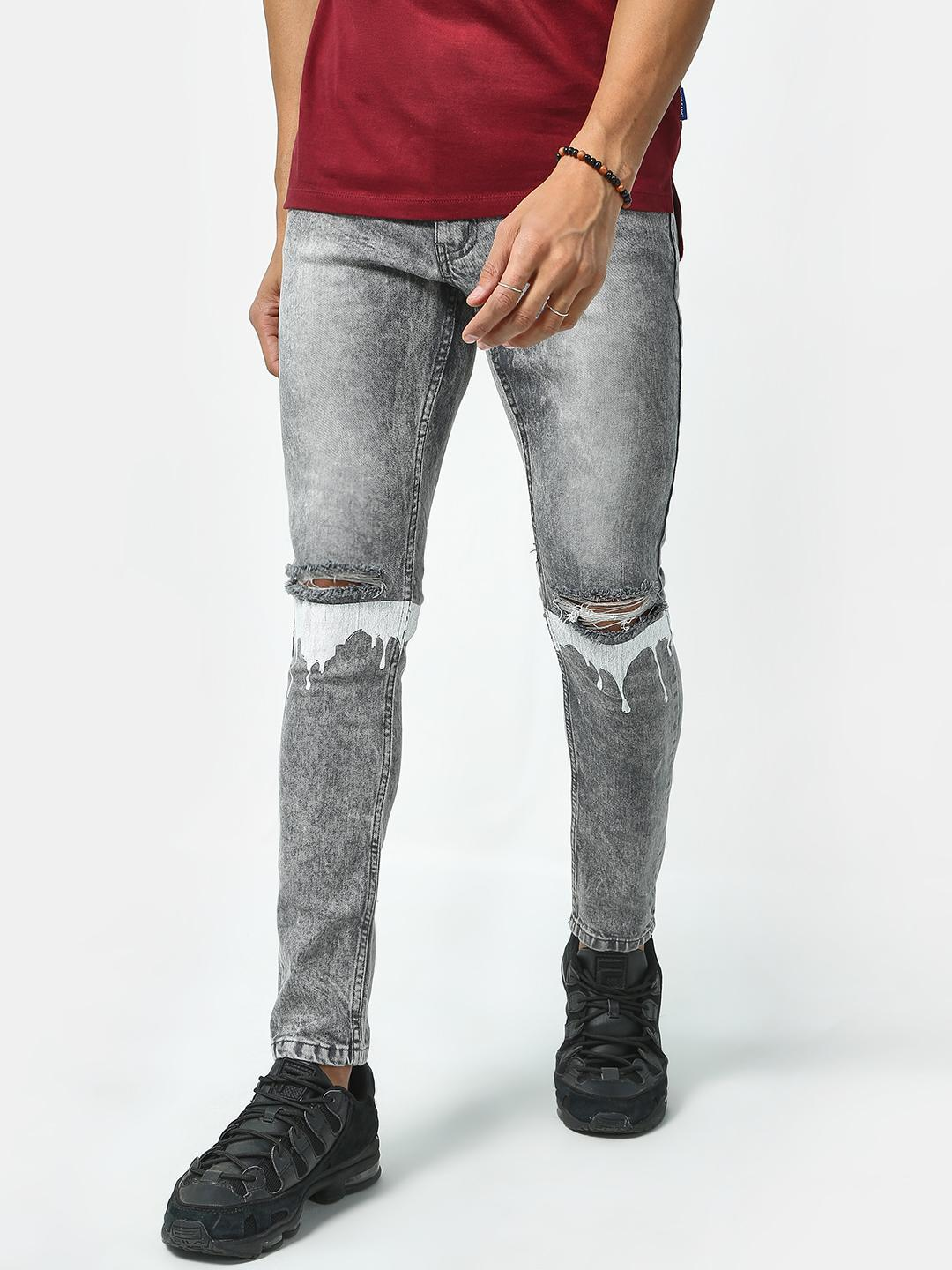 IMPACKT Grey Ripped Knee Mid Rise Jeans 1
