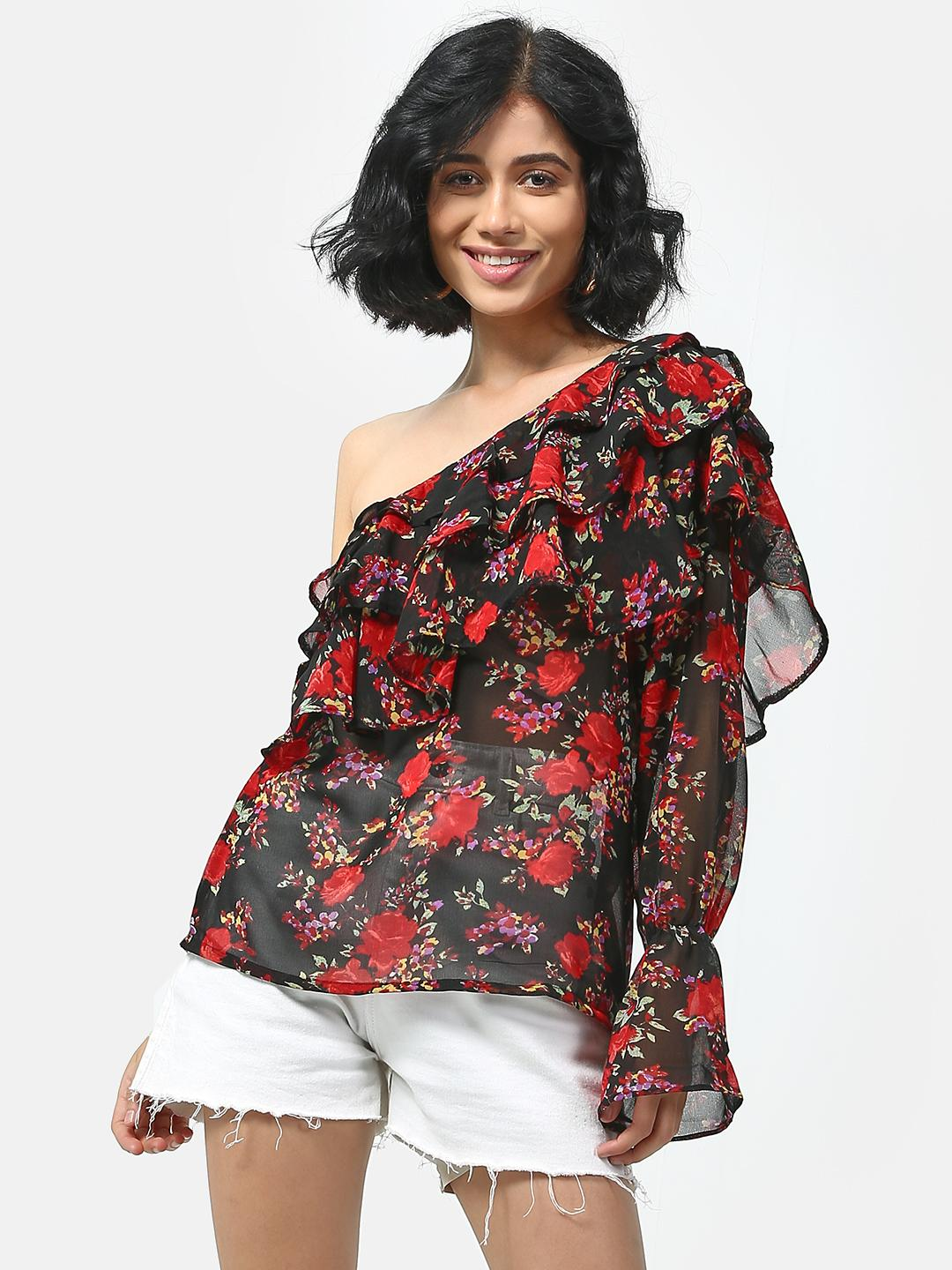 Cation Black Floral Print One Shoulder Top 1