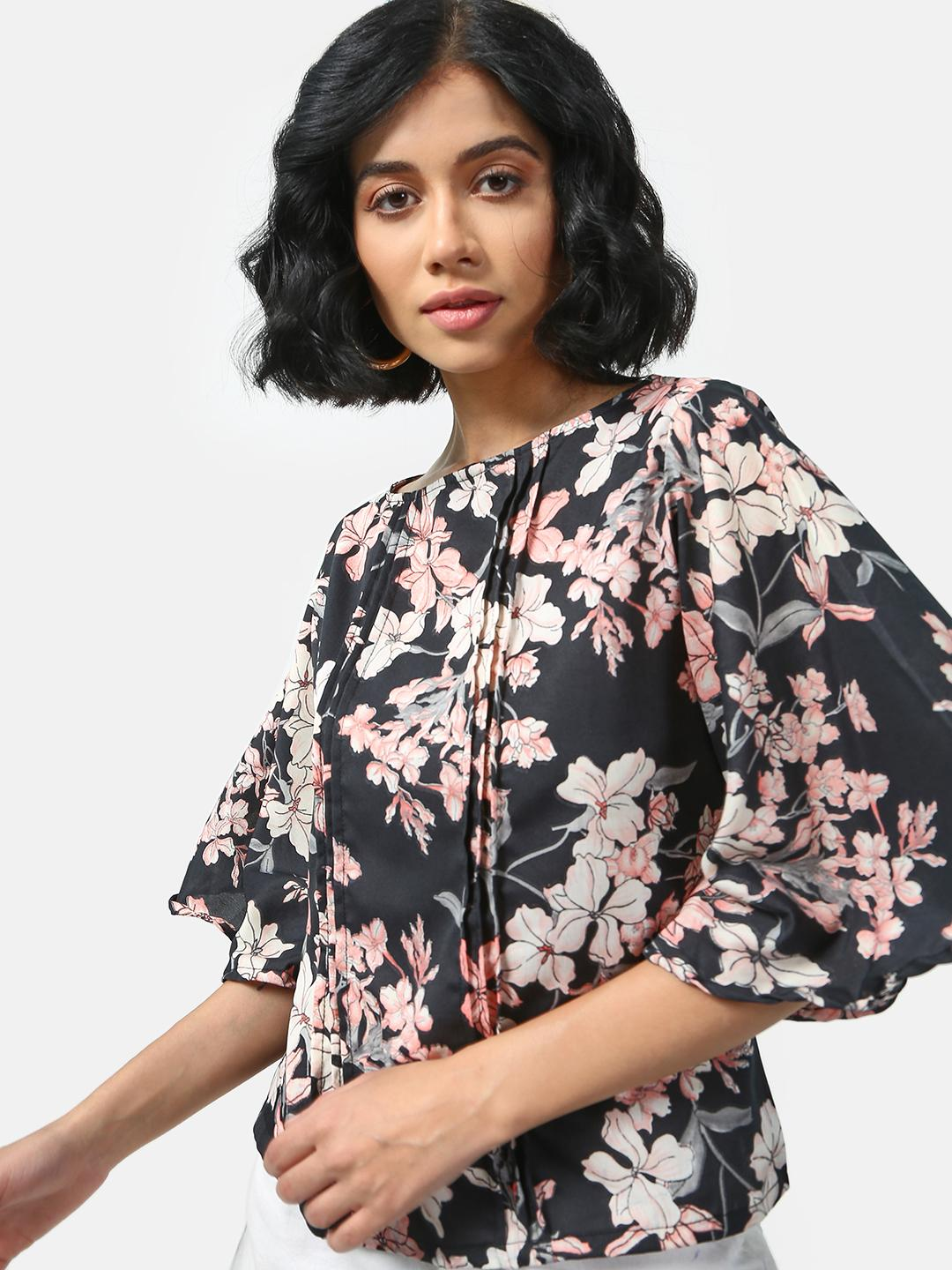 Cation Black Floral Print Pleated Top 1