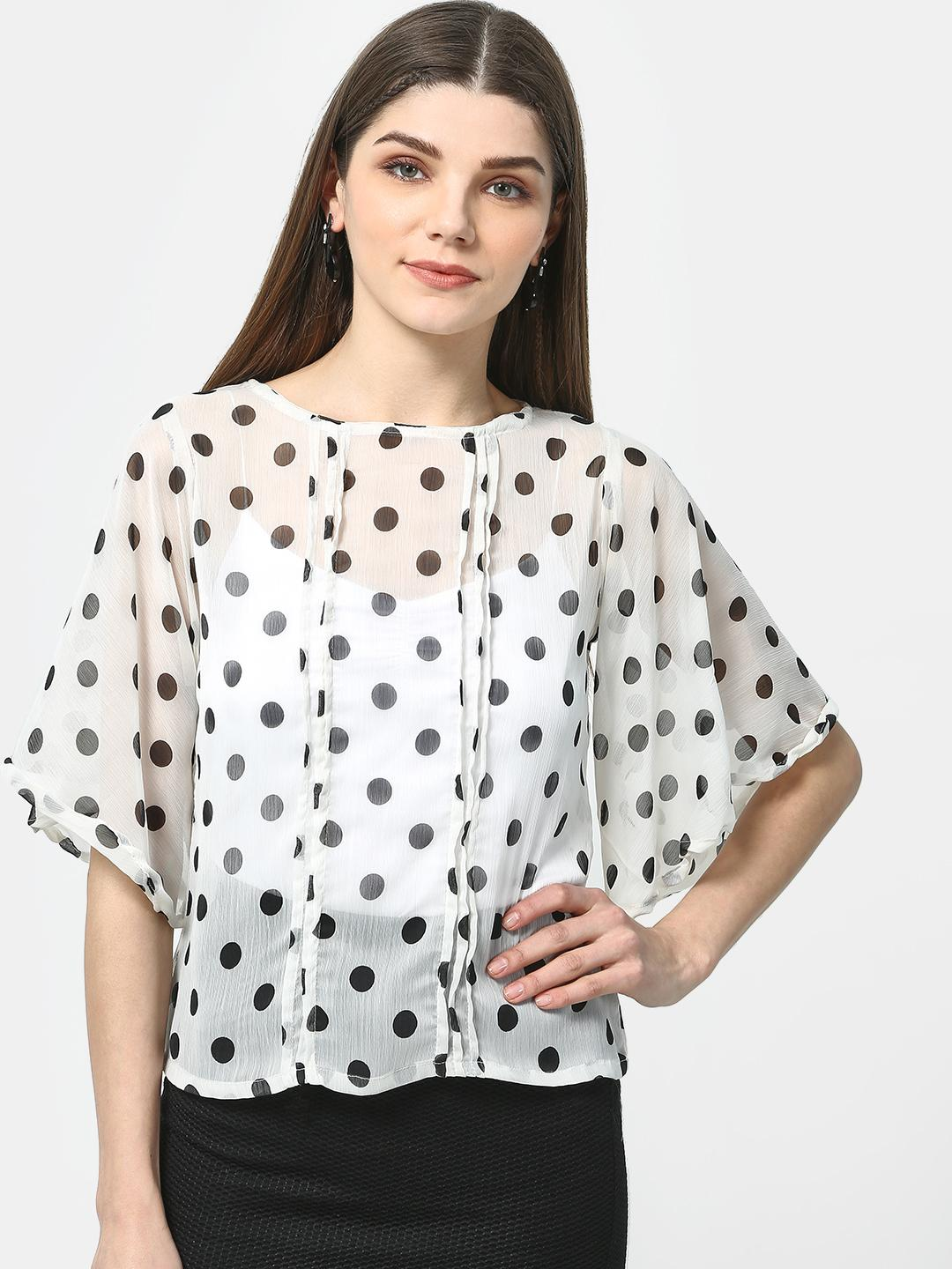 Cation White Kimono Sleeve Polka Dot Top 1