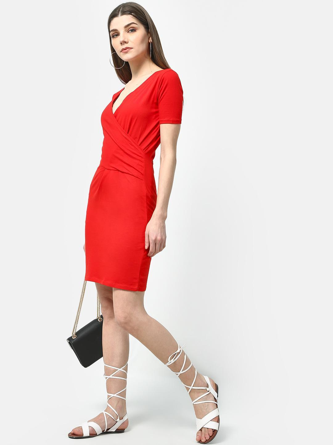 Cation Red Solid Wrap Bodycon Dress 1