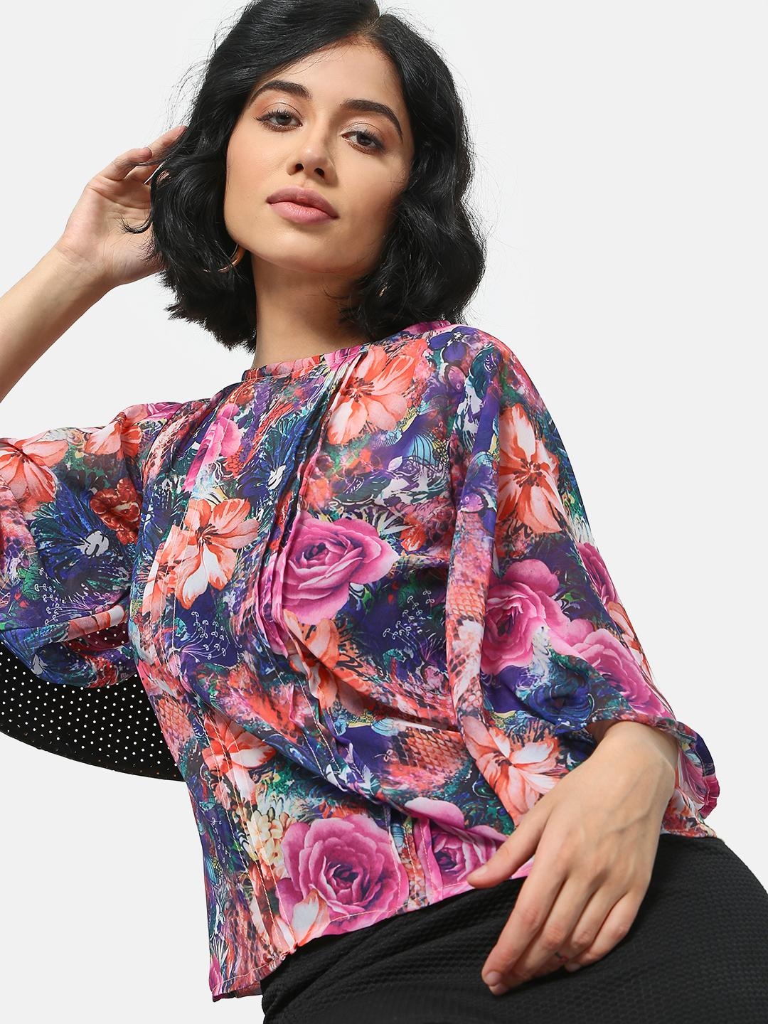 Cation Multi Floral Print Pleated Top 1